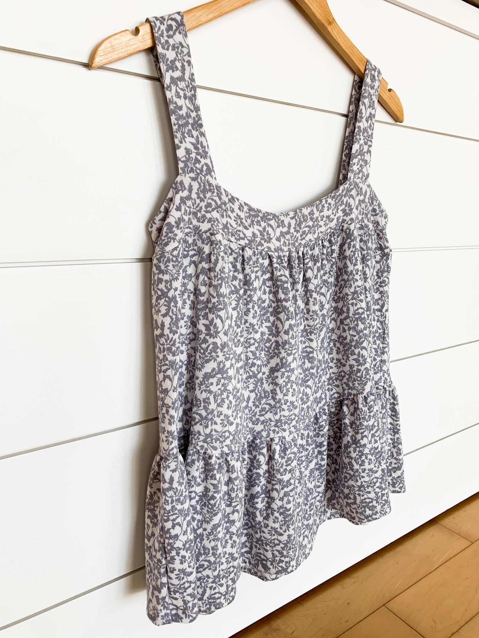 White/Light Grey Floral Print Top