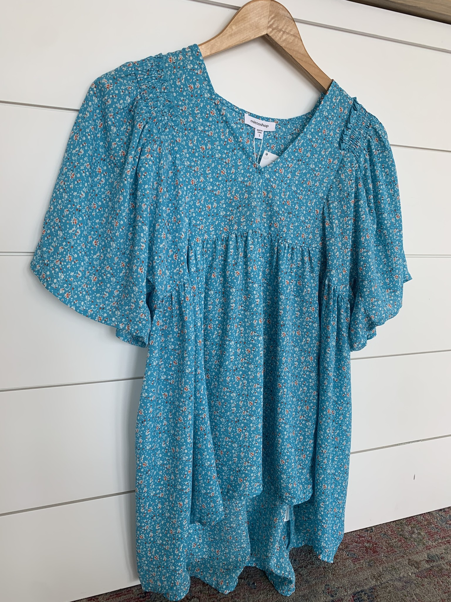 Sky Blue Printed Empire Waist Top
