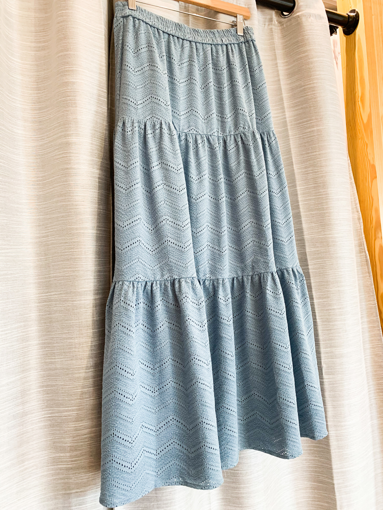 Dusty Blue Tiered Ruffle Maxi Skirt