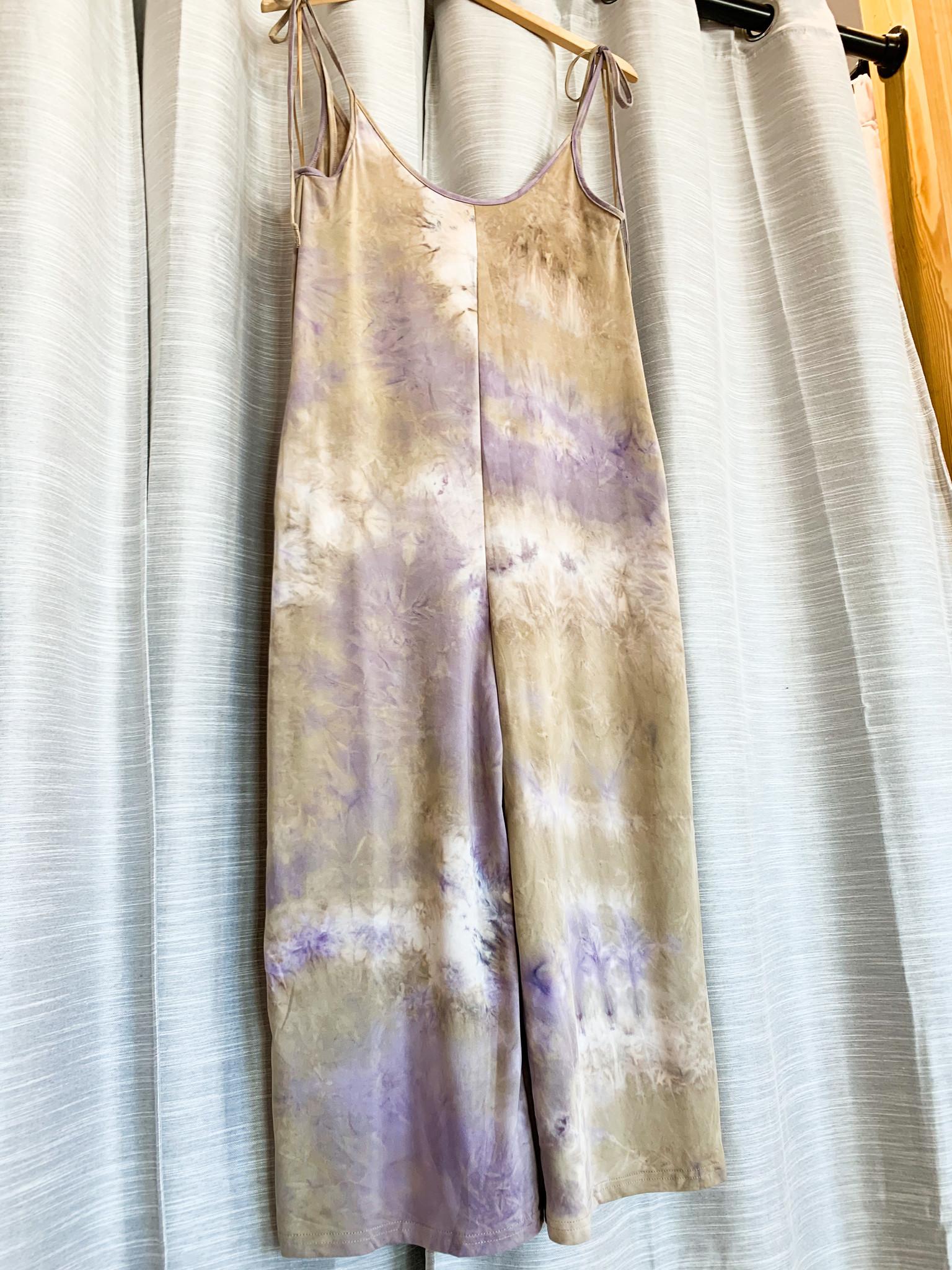 Taupe/ Purple Sleeveless Bow Tie Wide Leg Jumpsuit