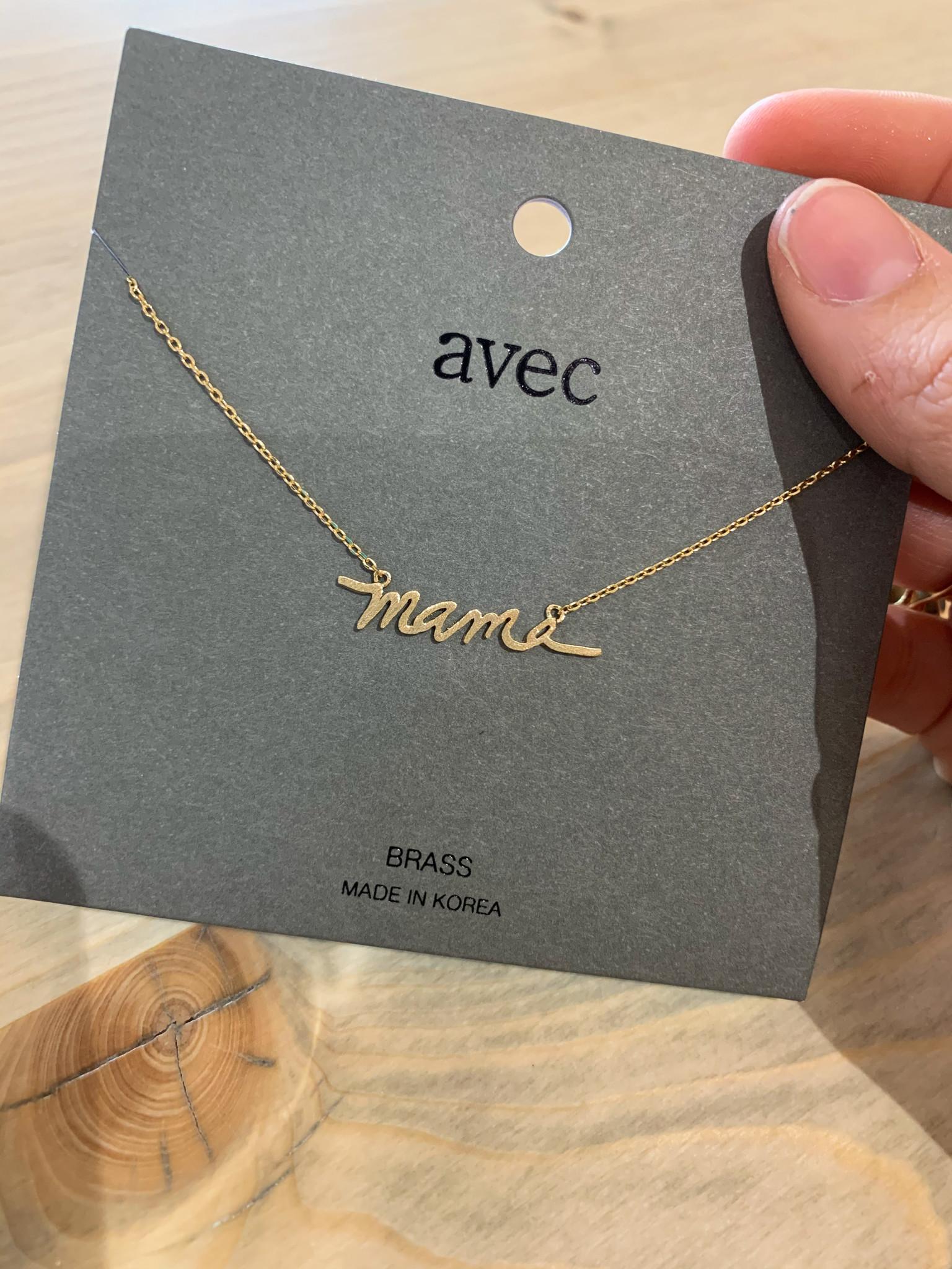 "Brass ""mama"" Pendant Necklace"
