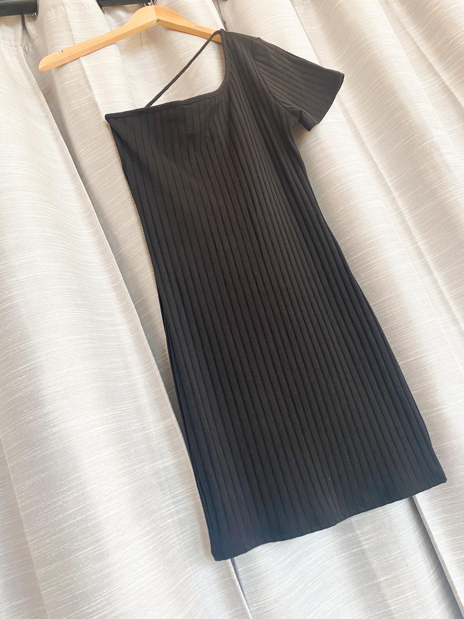 Black One Shoulder Rib Knit Mini Dress