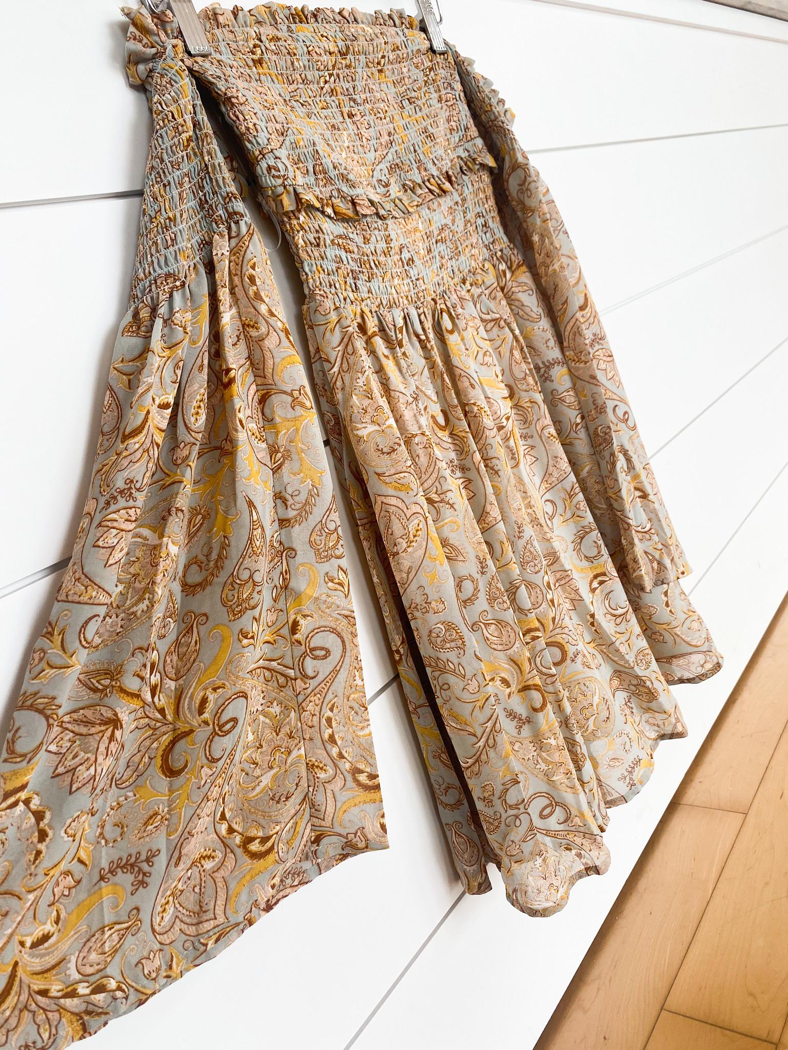 Paisley Smocked Off Shoulder Dress