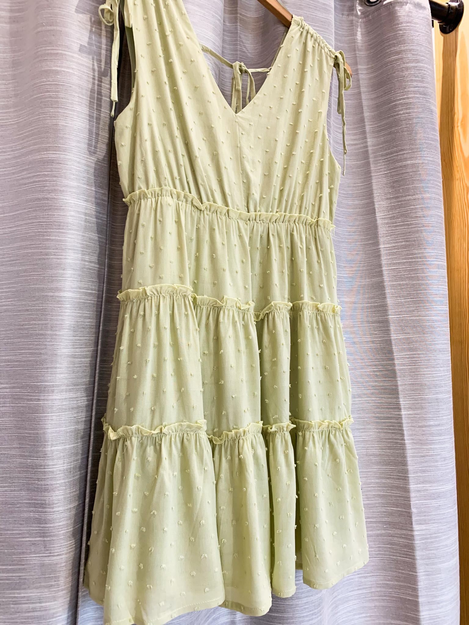 Light Green V-Neck Tirered Mini Dress