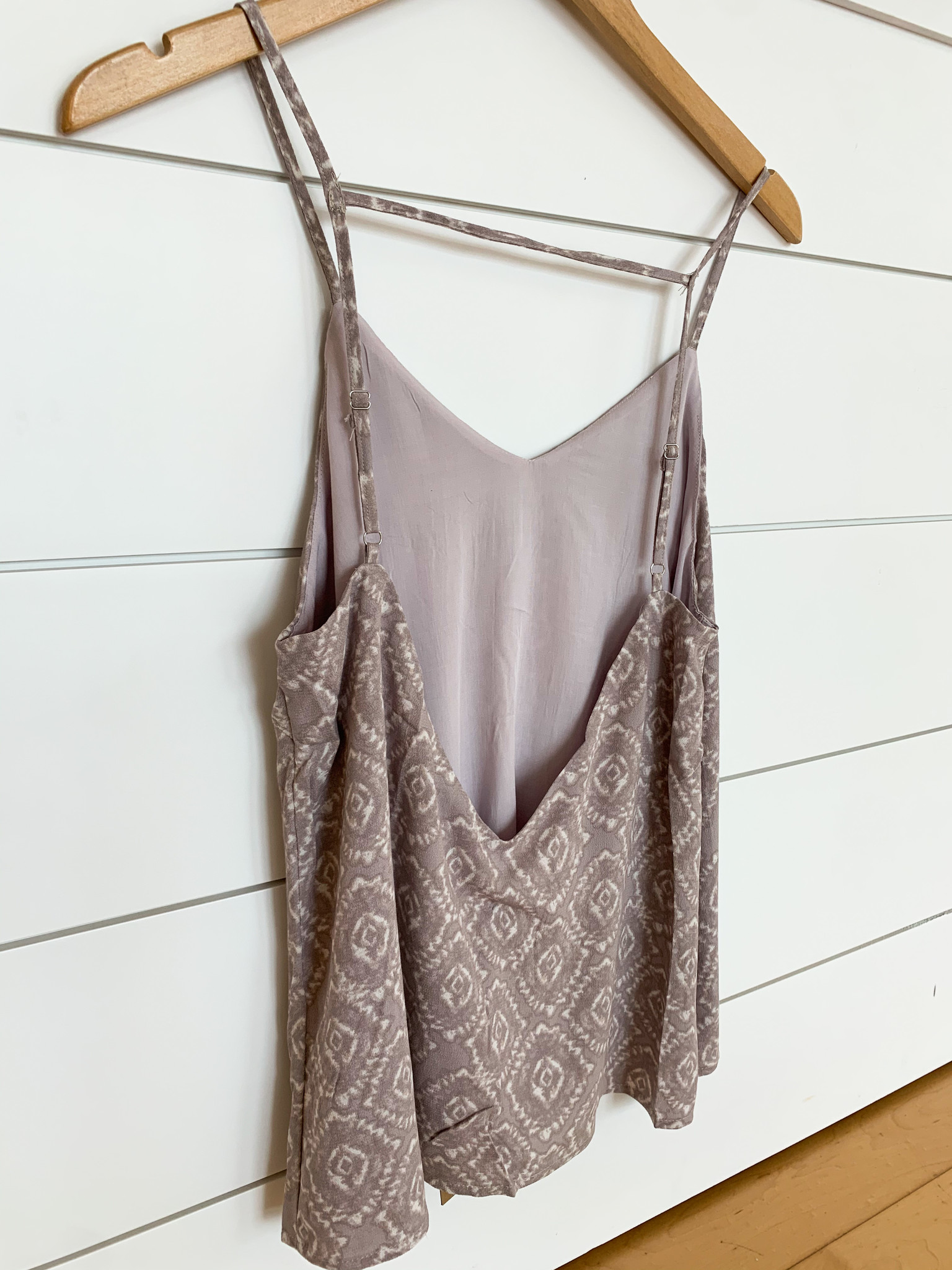 Taupe Grey Printed Top W/Adjustable Straps