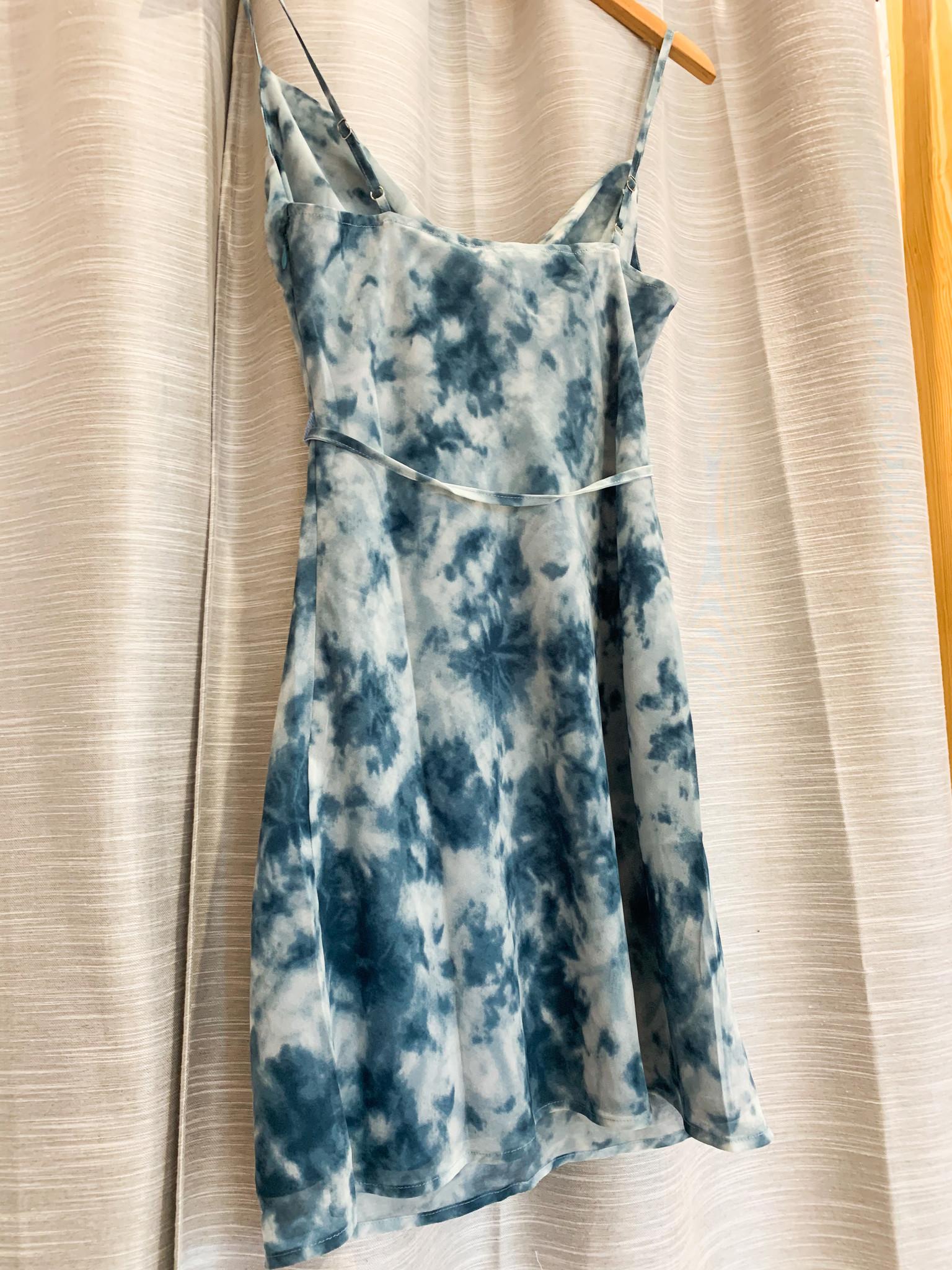 Navy Sunset Tie Dye Dress W/Side Zipper