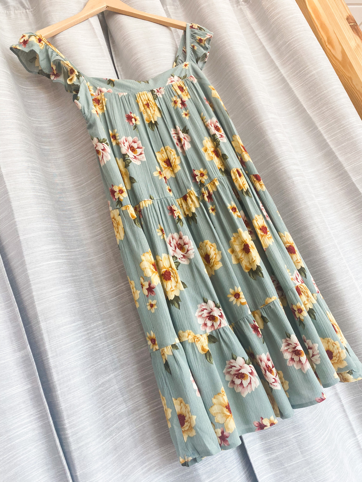 Sage/Yellow Floral Ruffle Sleeve Babydoll Mini Dress