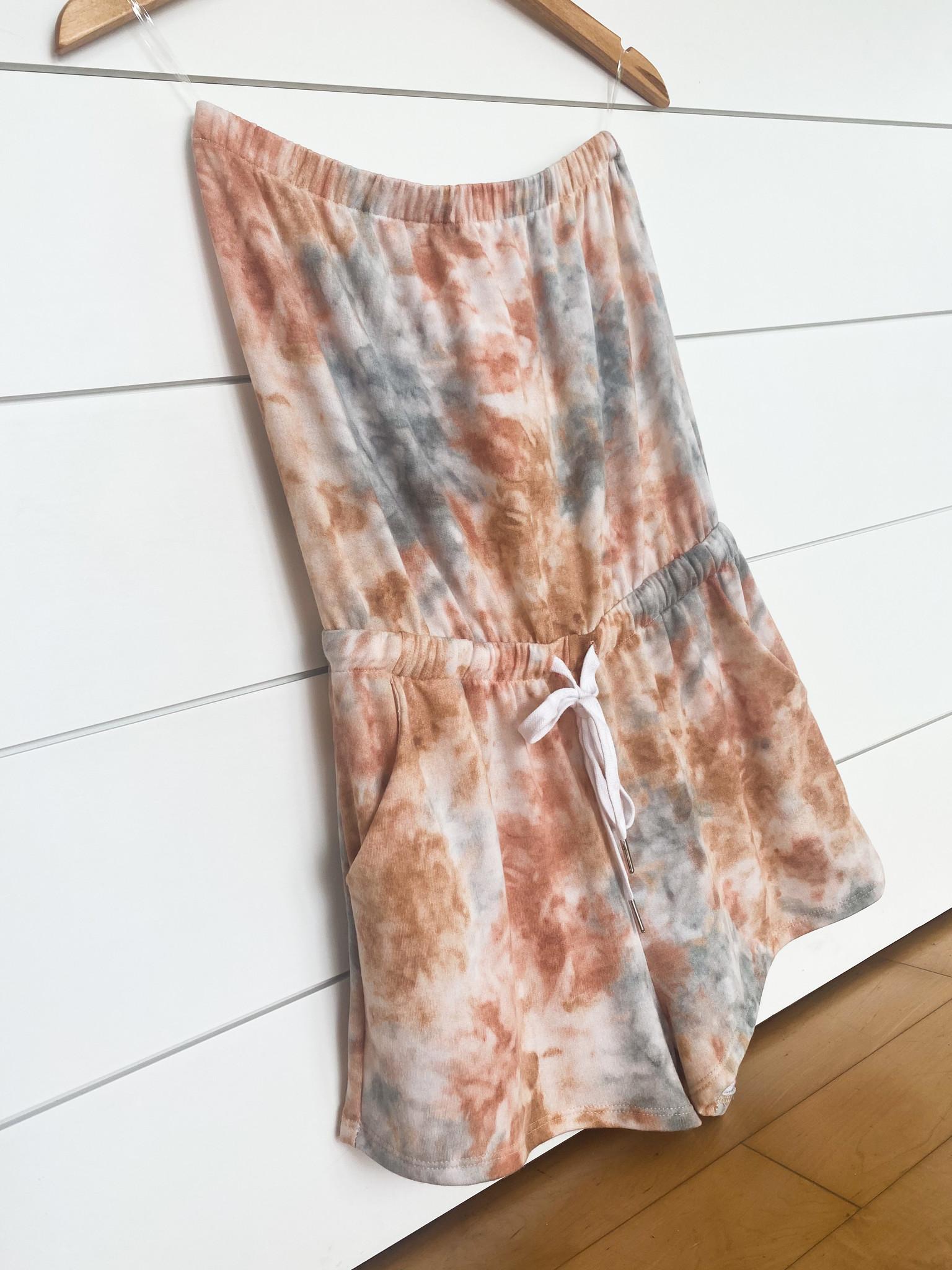 Coral/Teal Tie Dye Strapless Print Romper