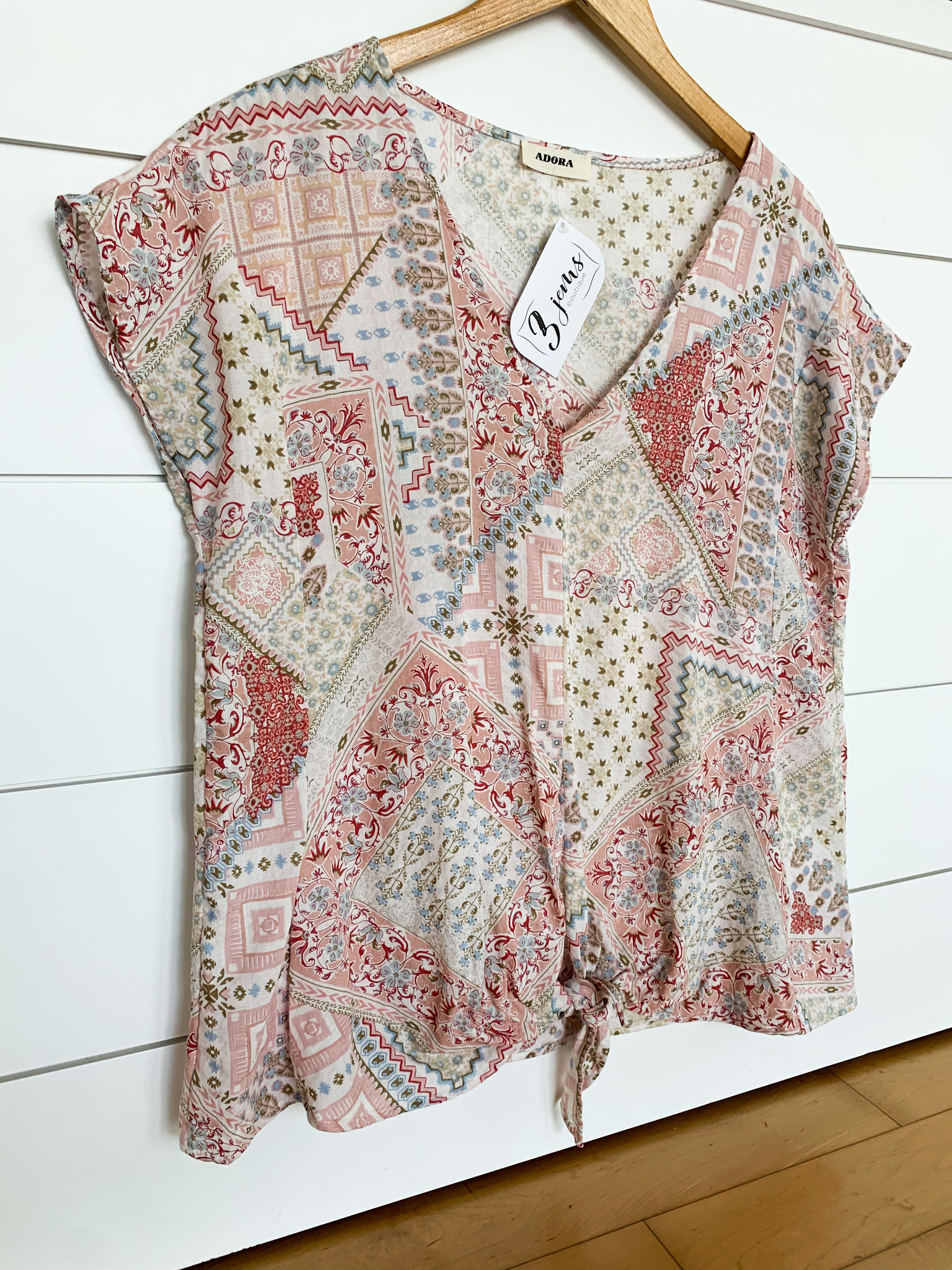 Pink V-Neck Front Tie Relaxed Fit Top