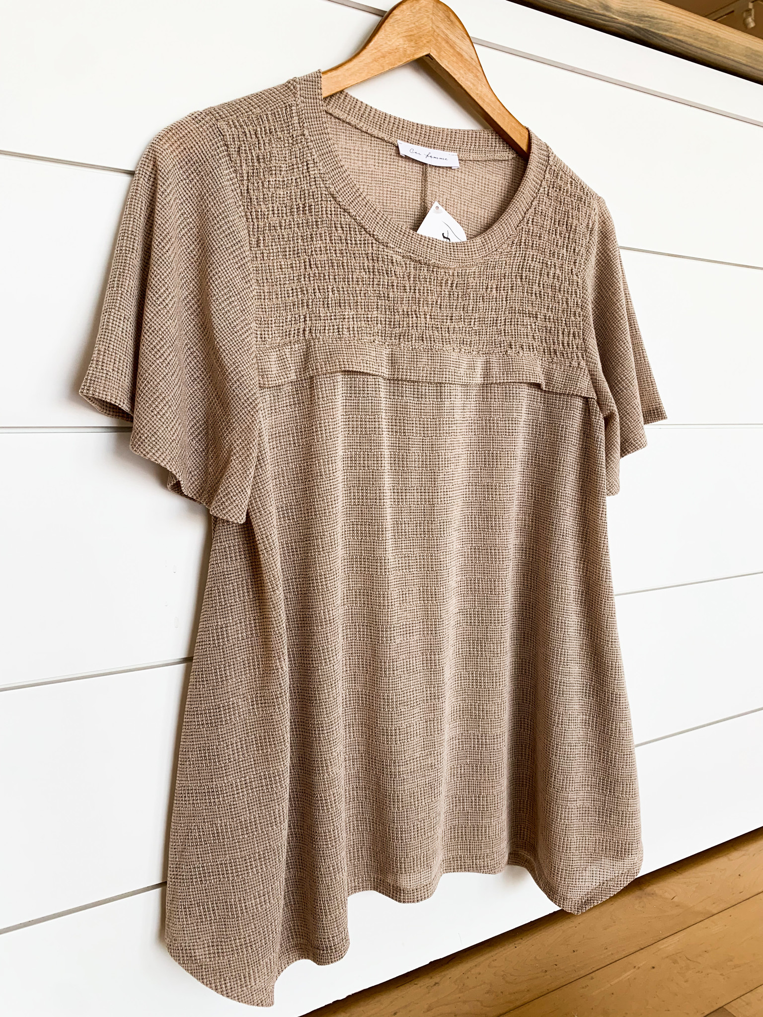Taupe Relaxed Fit Basic Top