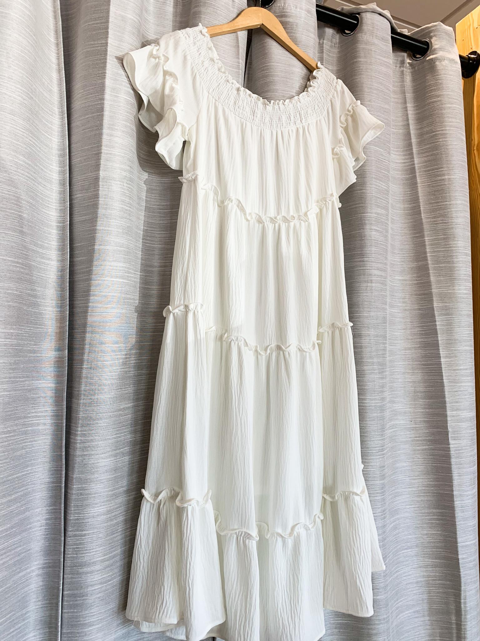 Ivory Off Shoulder Loose Tiered Dress