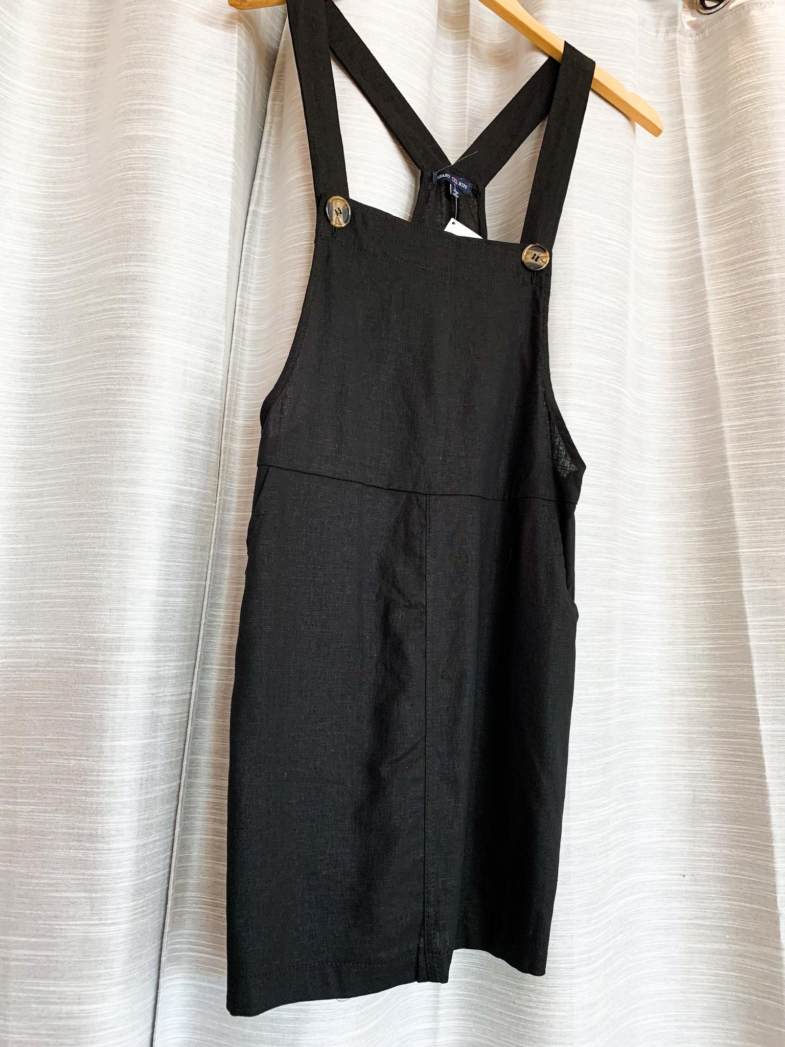 Black Front Pocket Overall Dress