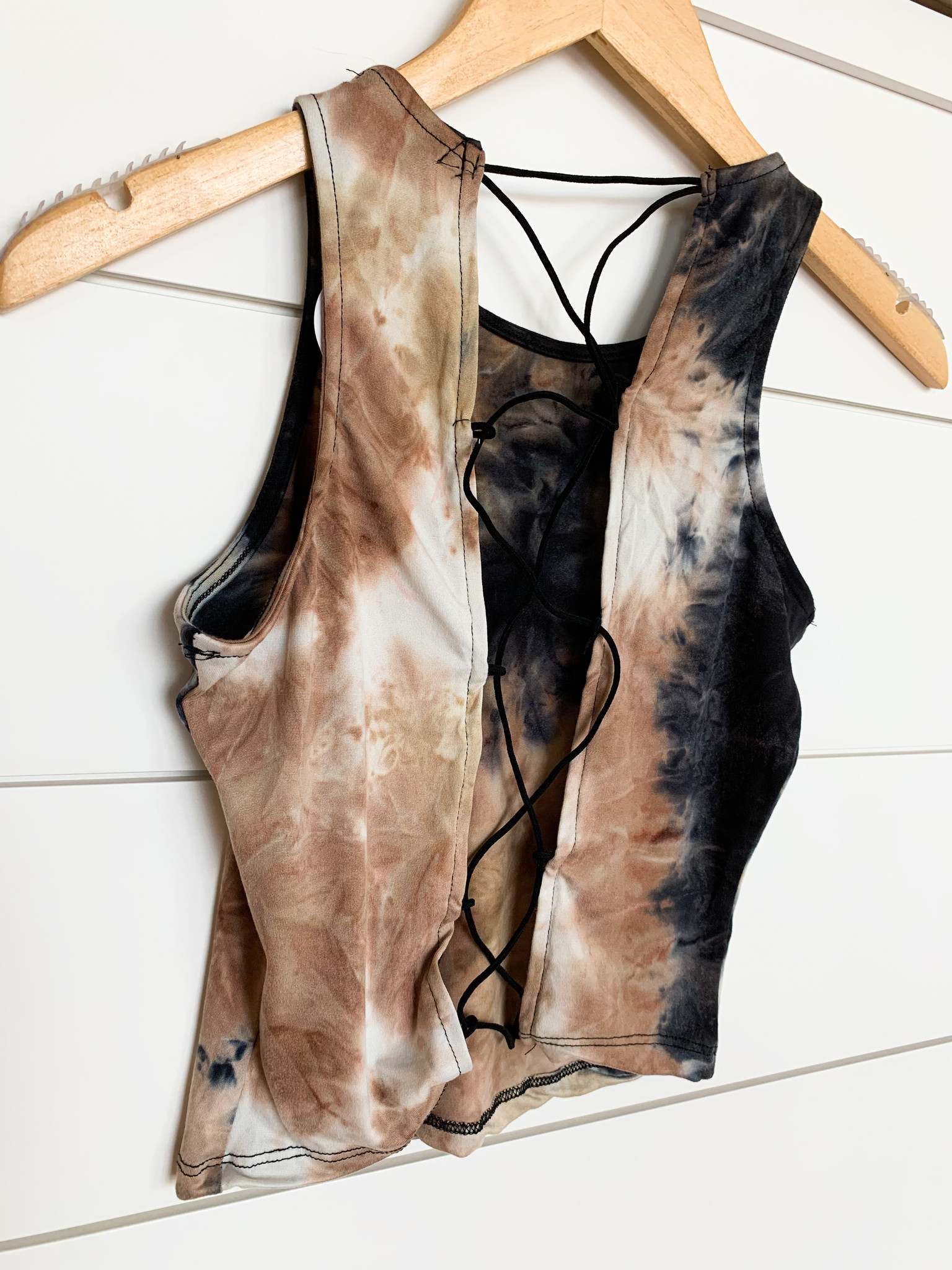 Black Combo Tie Dye Lace Back Top