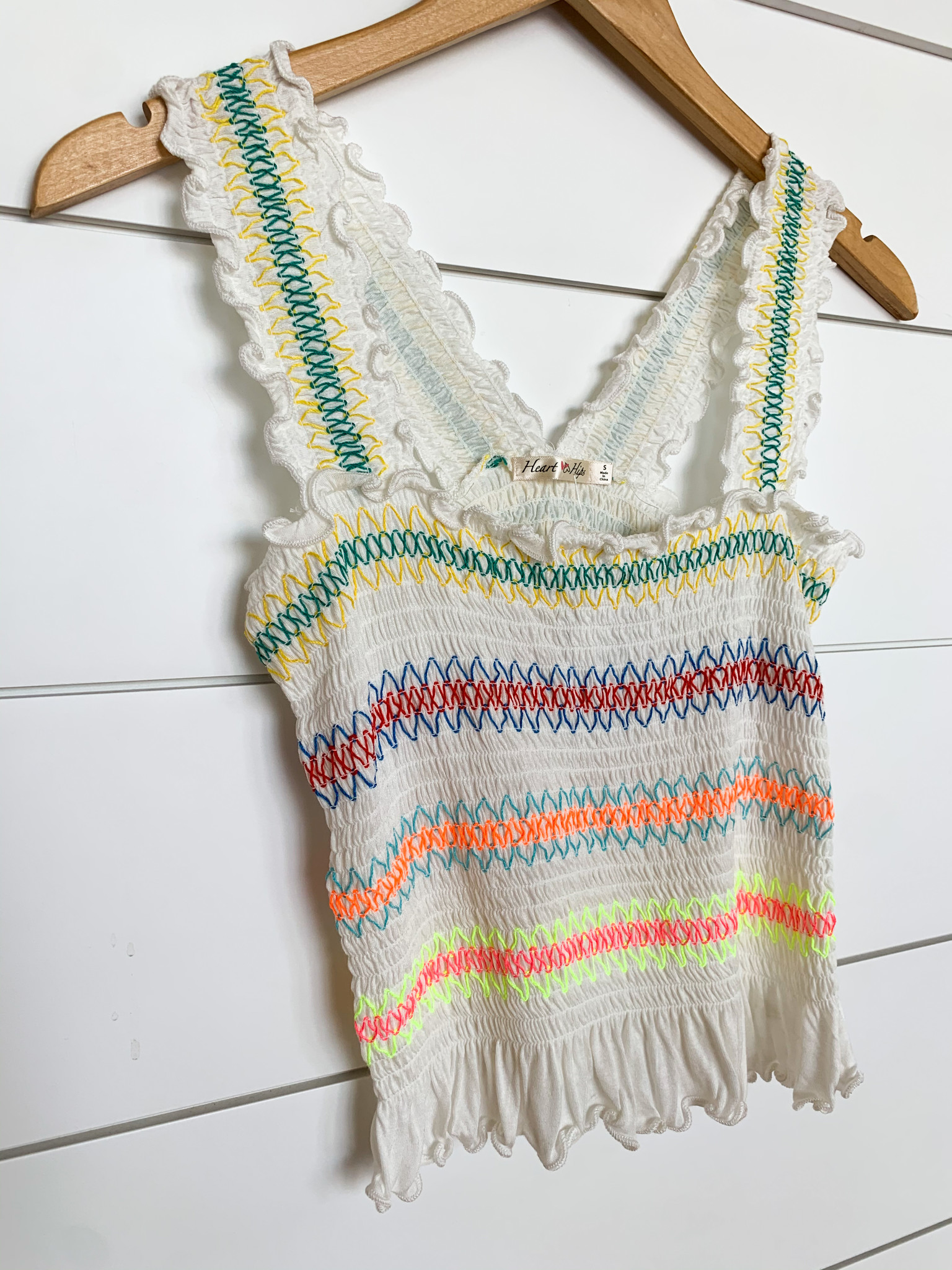 White Multi Colored Stitched Smocked Top