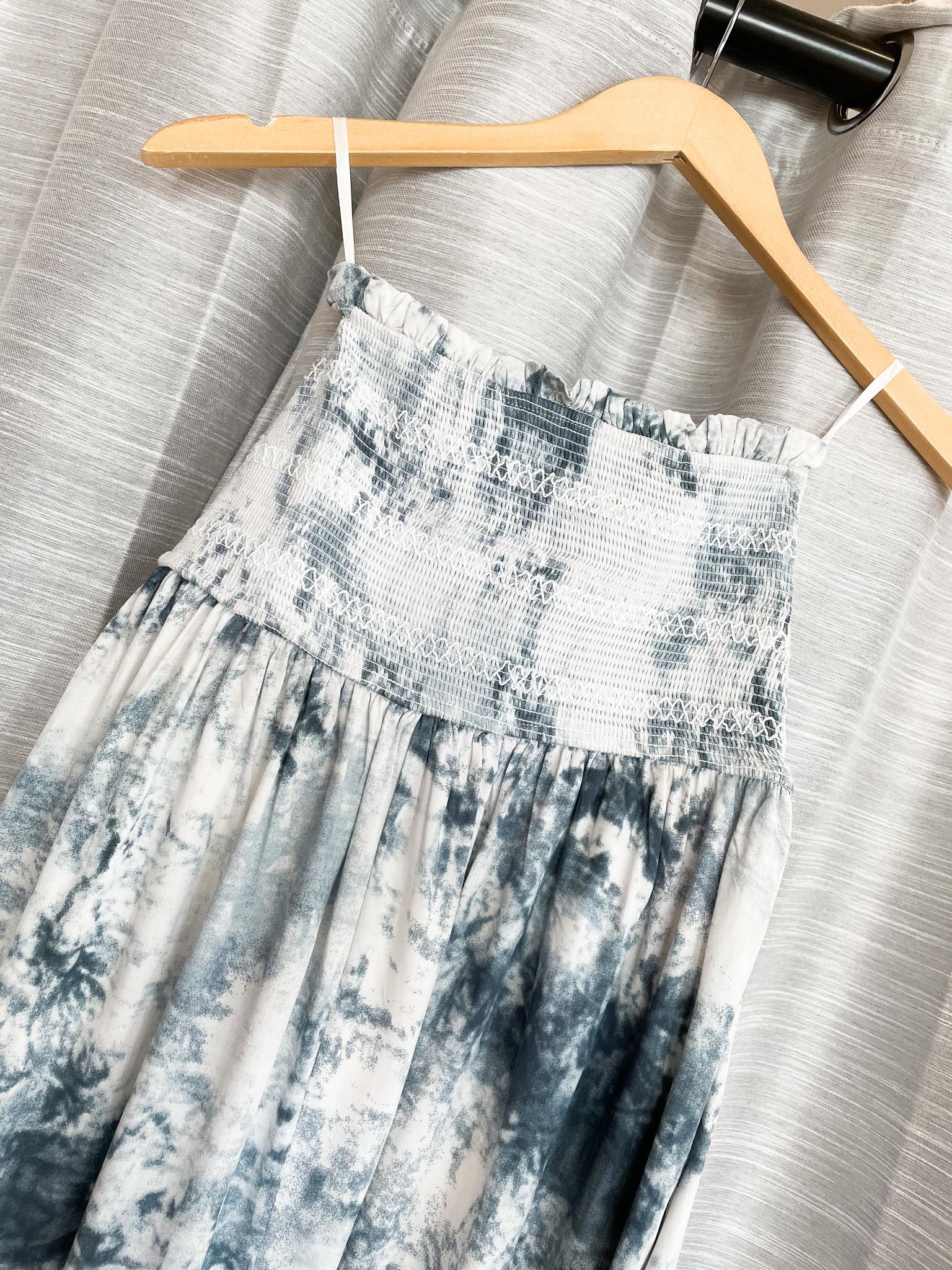 Teal Tie Dye Smocked Tube Top Summer Dress