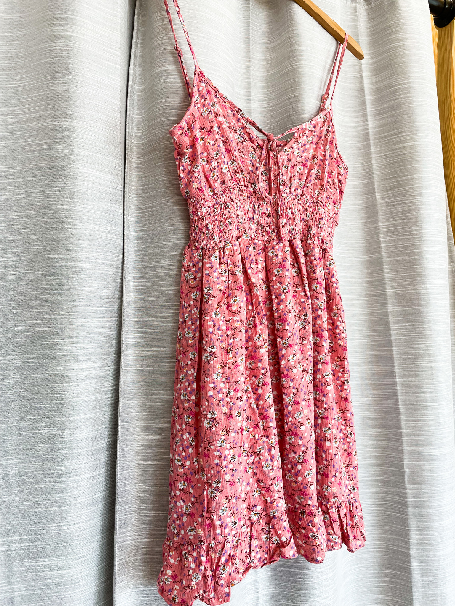 Pink Floral Cami Tie Front Smocked Waist Dress