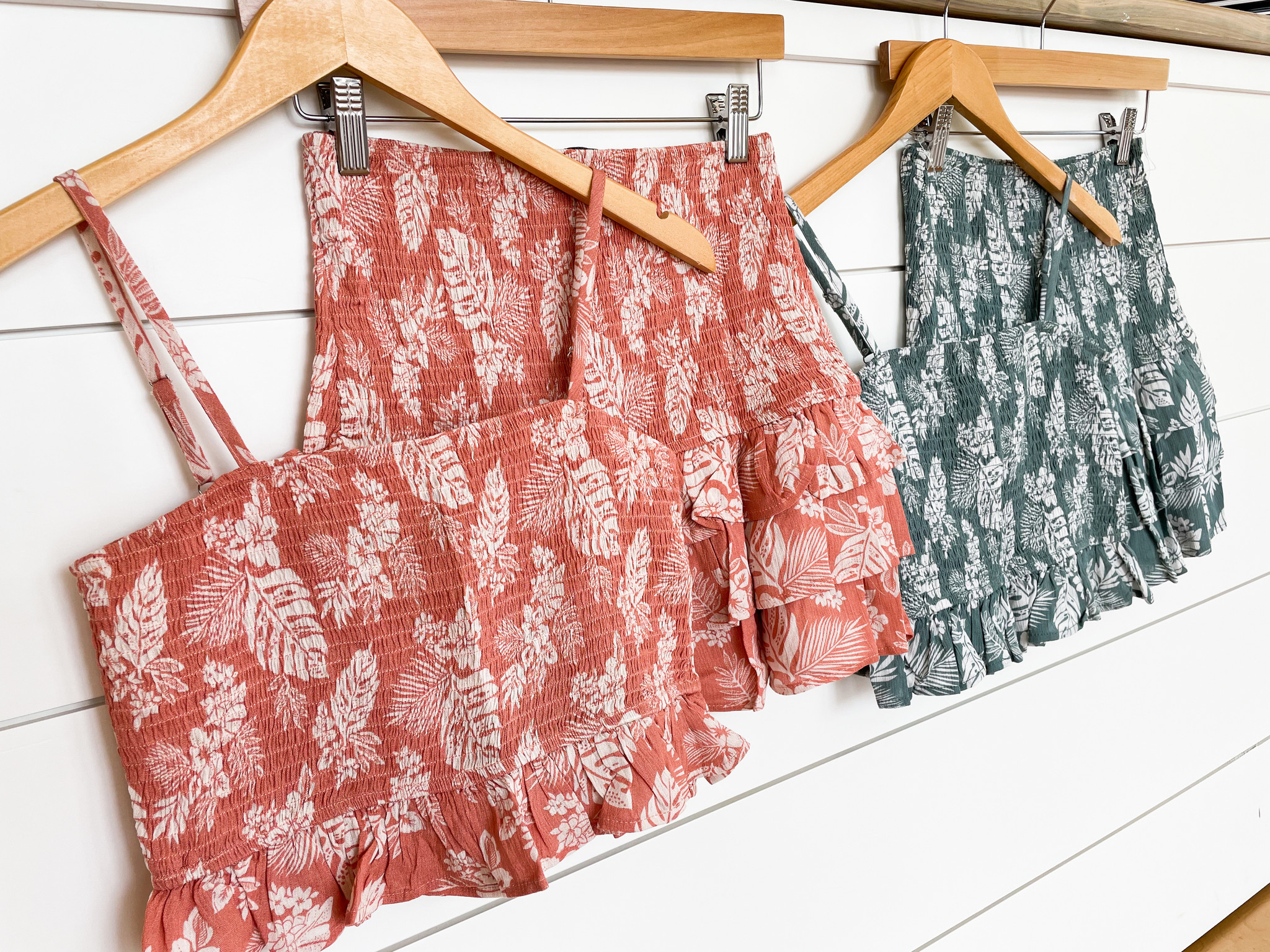 Tropical Print Cami Smocked Tiered Set