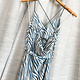 Blue/ Ivory Animal Print Midi Slip Dress w/ Front Tie