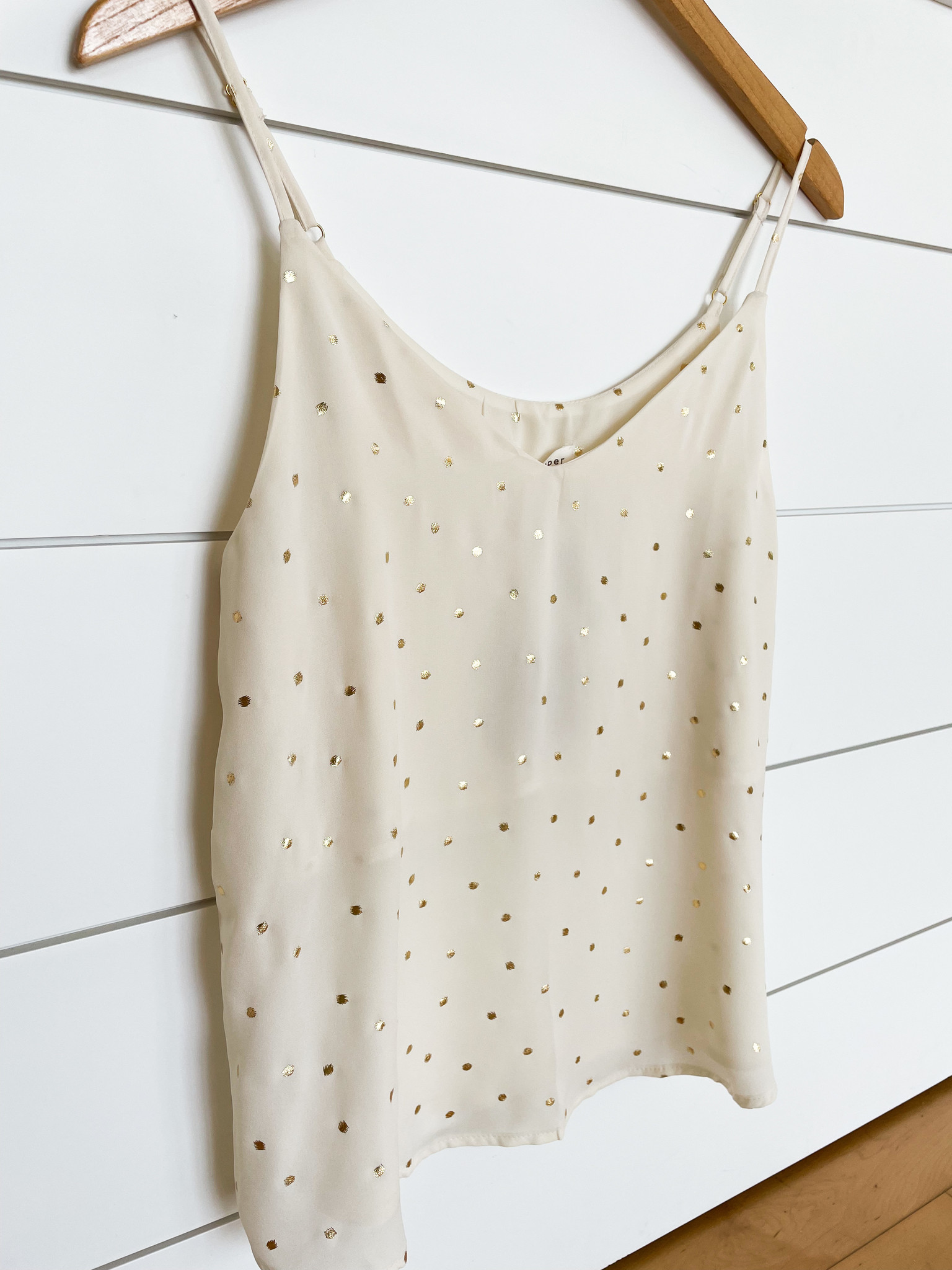 White Cami Top w/ Gold Dots