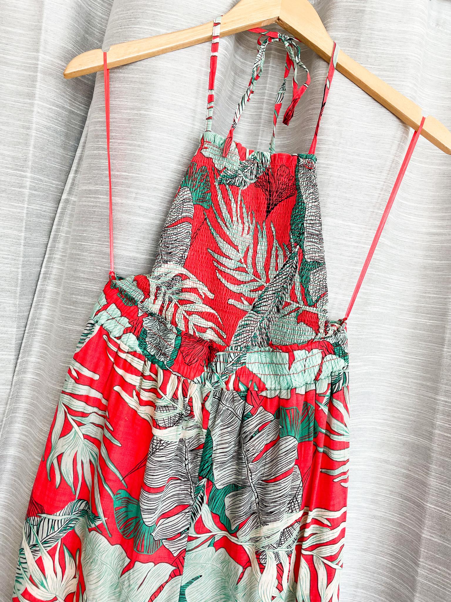Coral Printed Smocked Jumpsuit