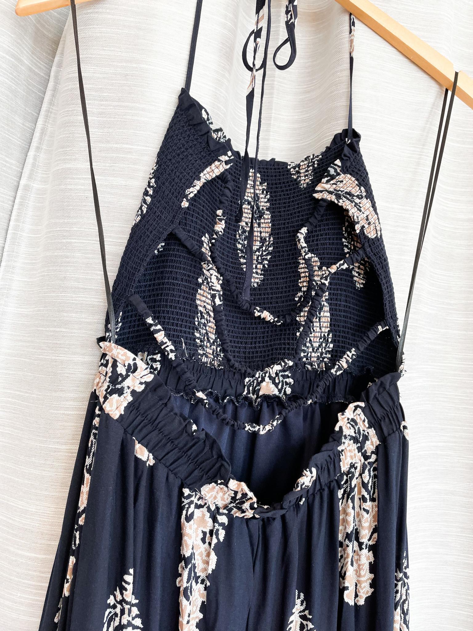 Navy Printed Open Back Maxi Dress