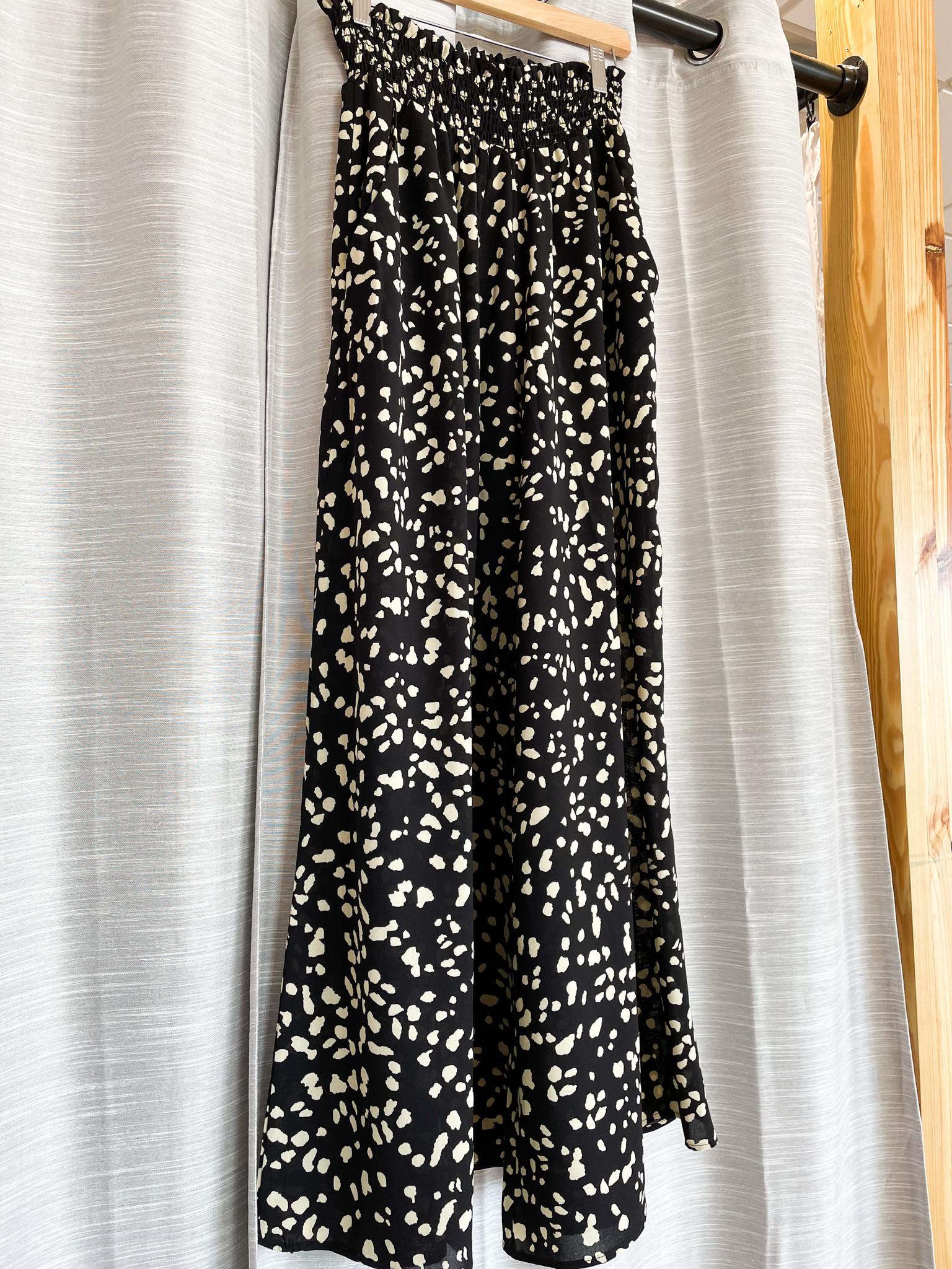 Black High Waist Wide Leg Printed Pants