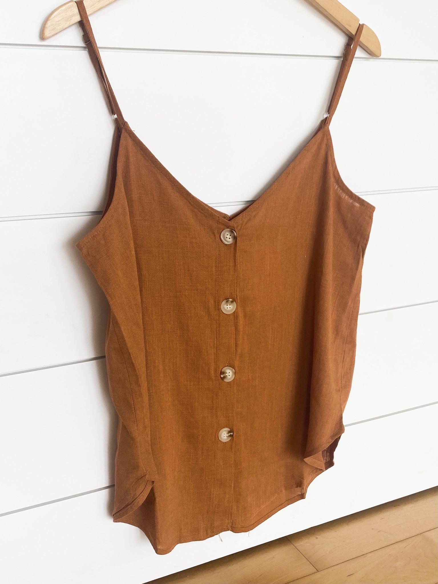 Camel Linen Solid Button Cami Top