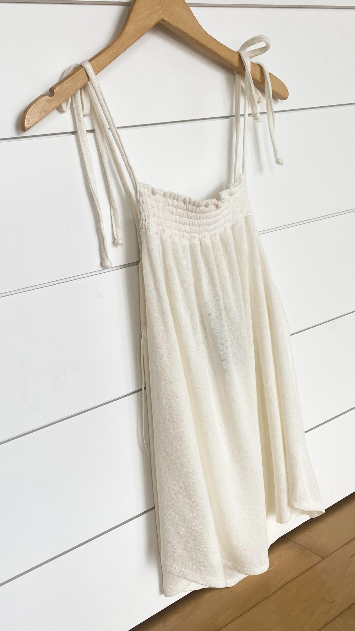 Ivory Knit Shoulder Strap Top
