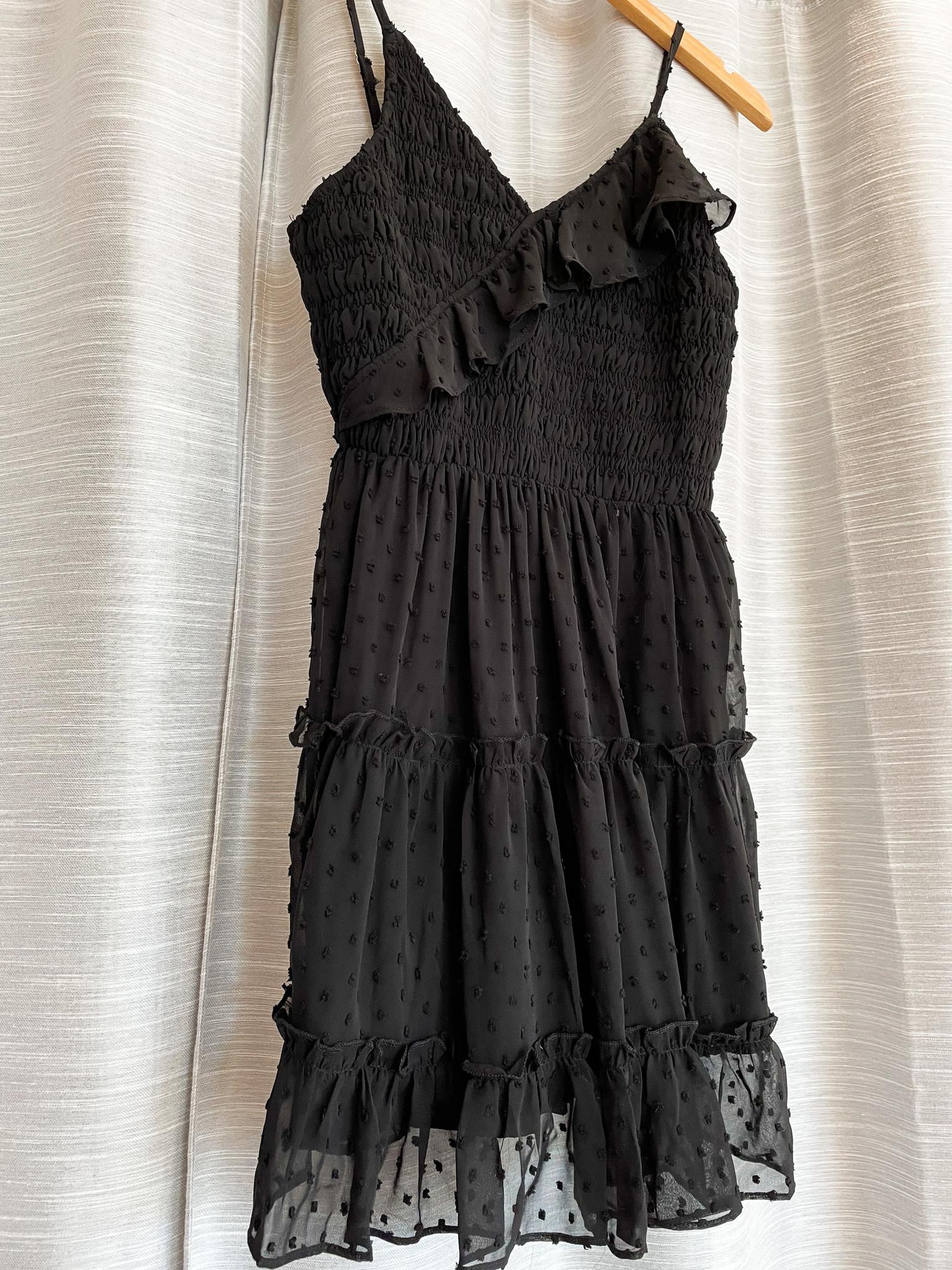 Black Ruffled Smocked Dress w/ Adjustable Straps