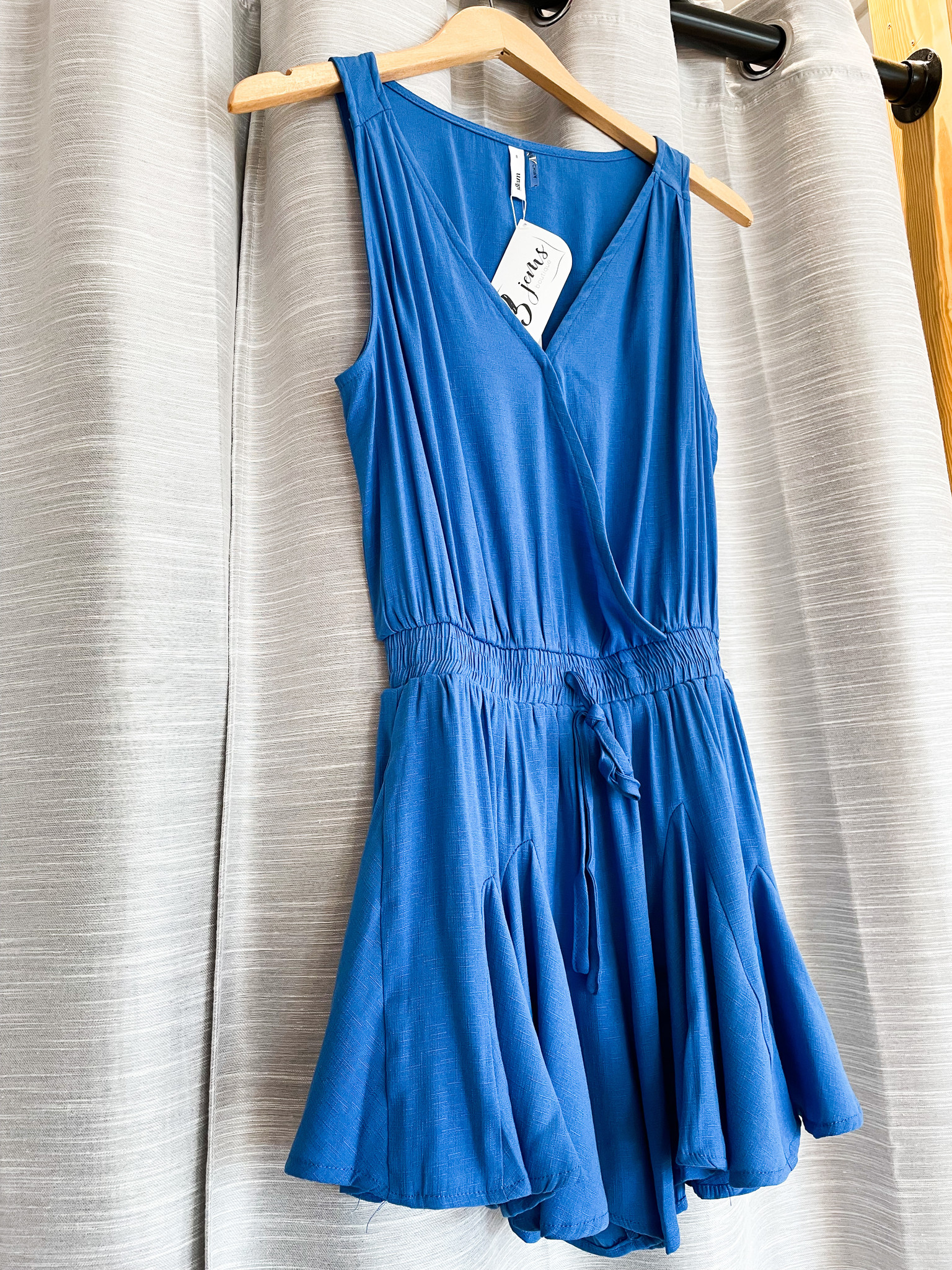 Royal Blue Sleeveless Romper w/ Front Tie