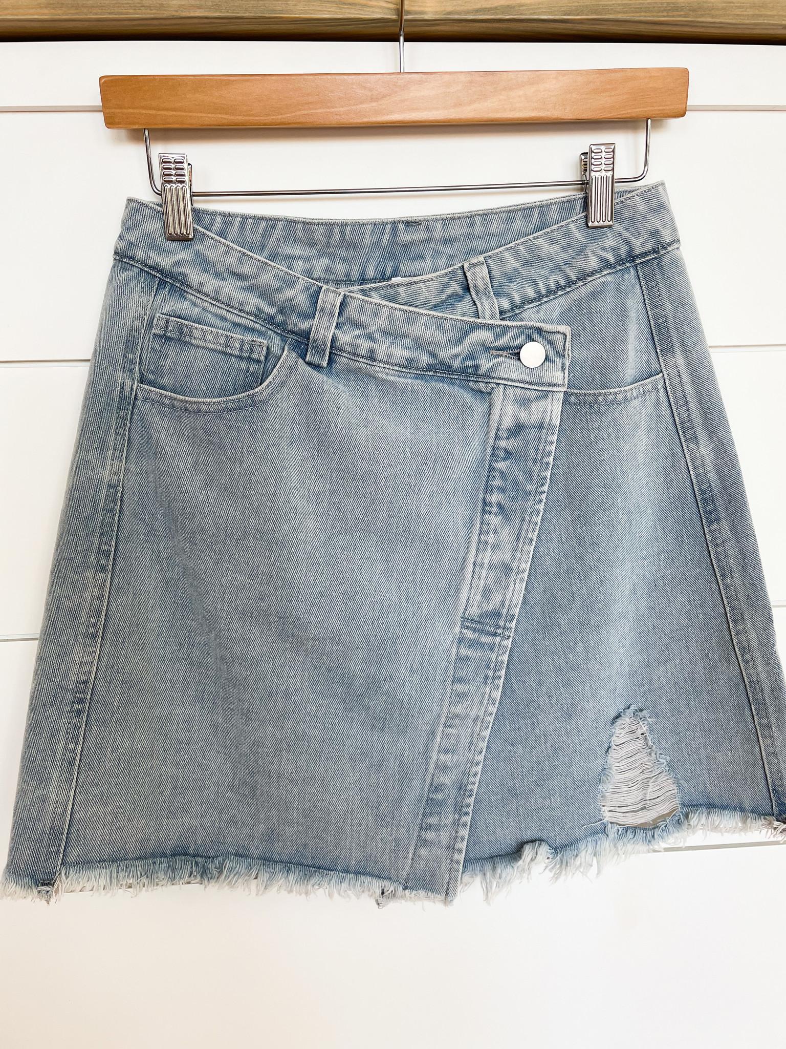 Asymmetrical Denim Mini Skirt