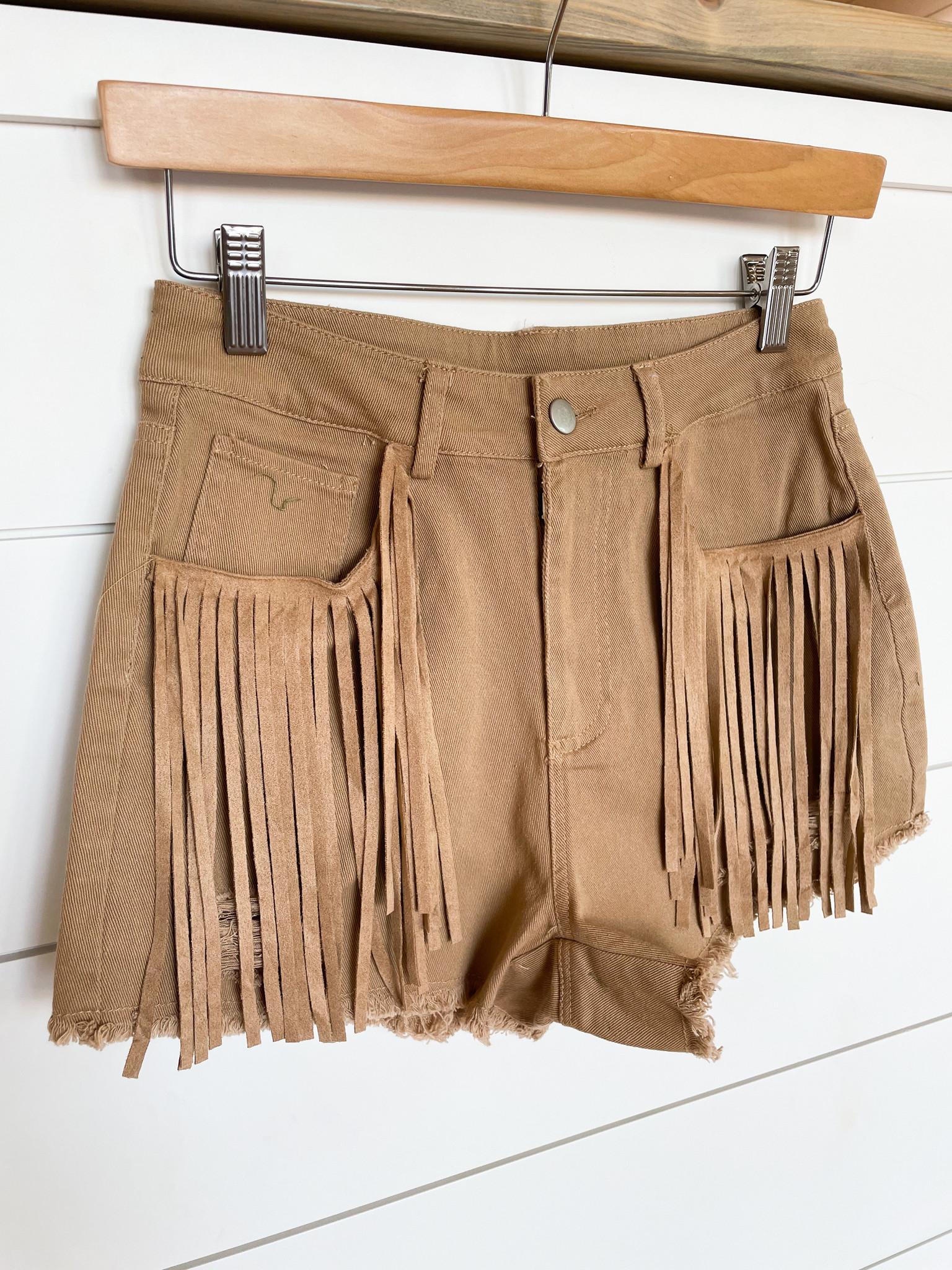High Waisted Solid Fringe Denim Shorts