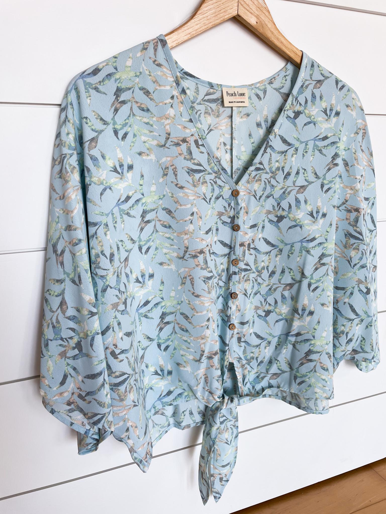 Blue Leaf Print Kimono Top