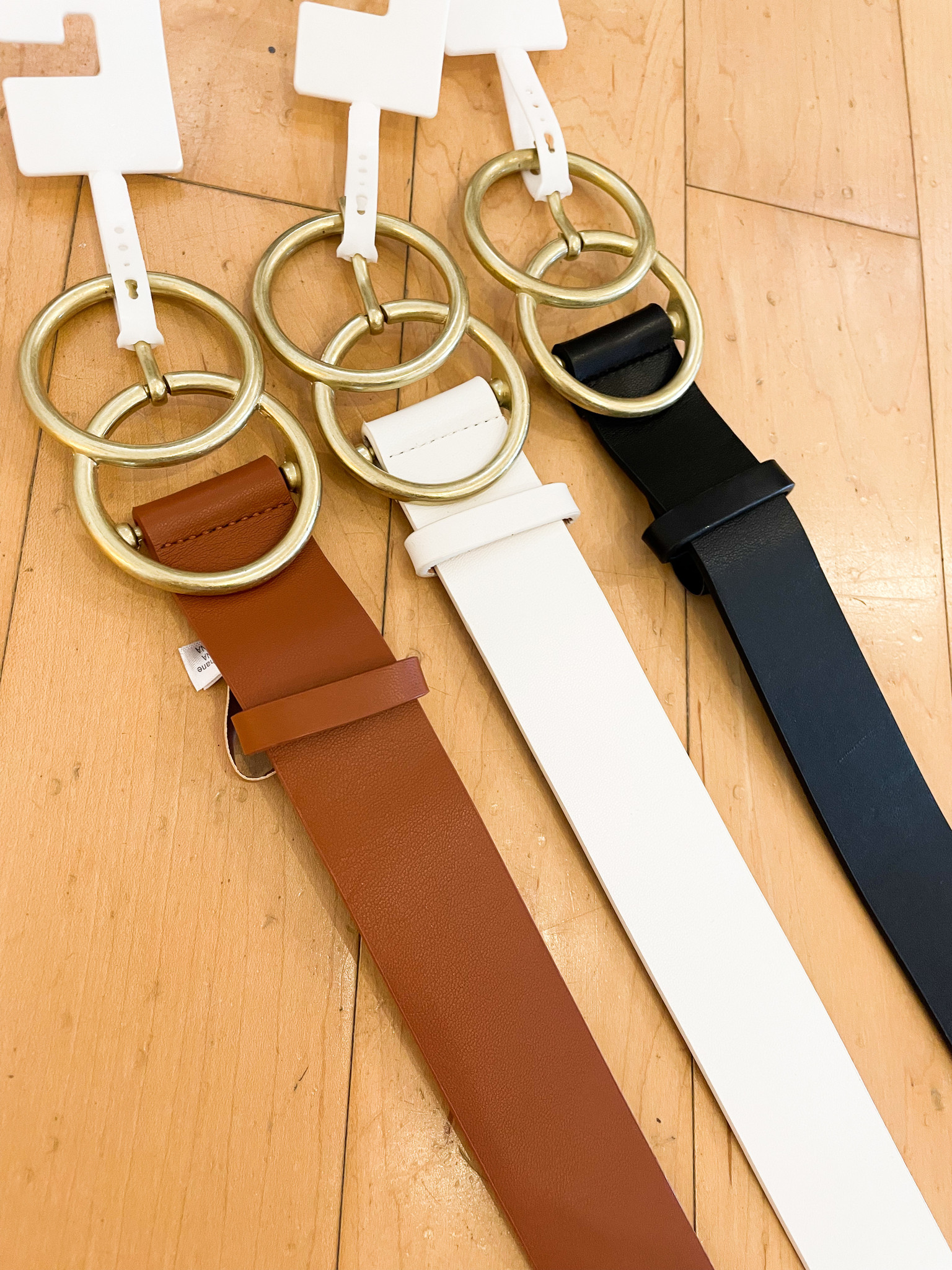 Faux Leather Double Metal Ring Belt