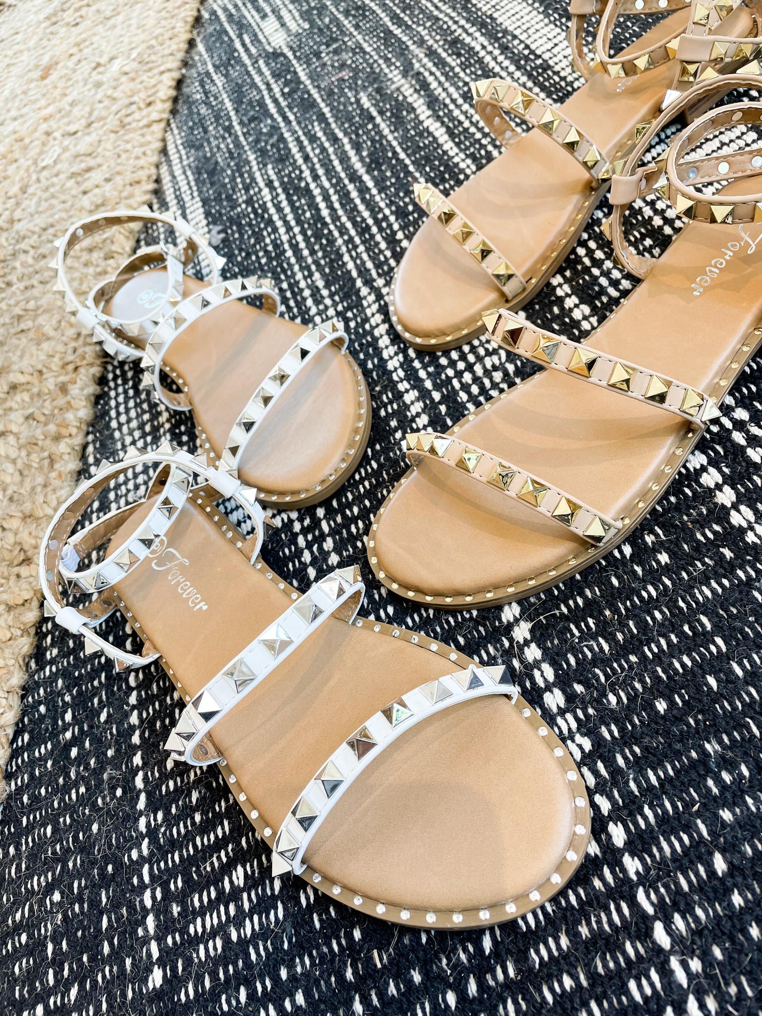 Studded Low Heel Sandal