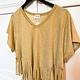 Mustard Mineral Washed Fringed Top