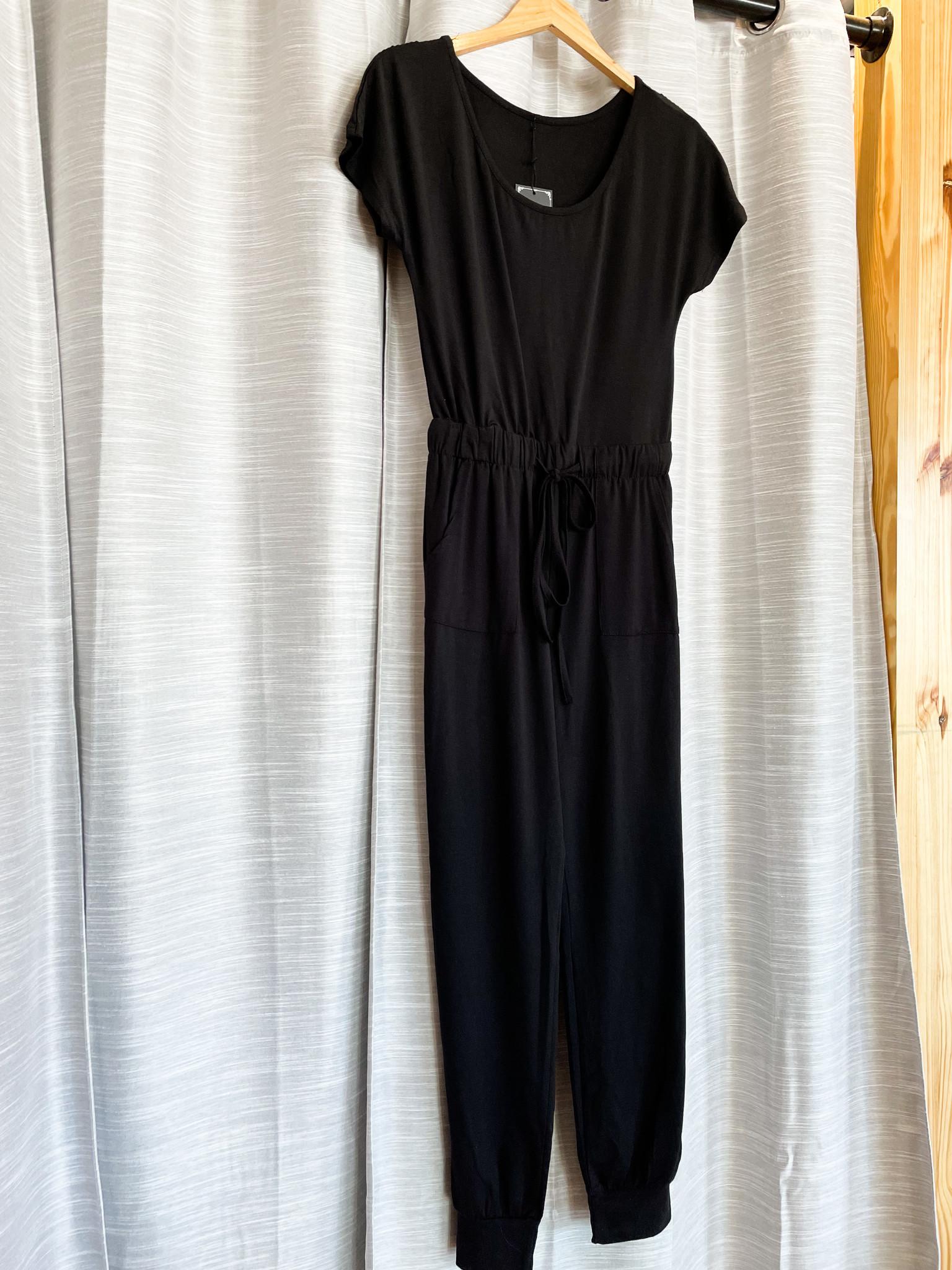 Black Off Shoulder Elastic Waist Jumpsuit