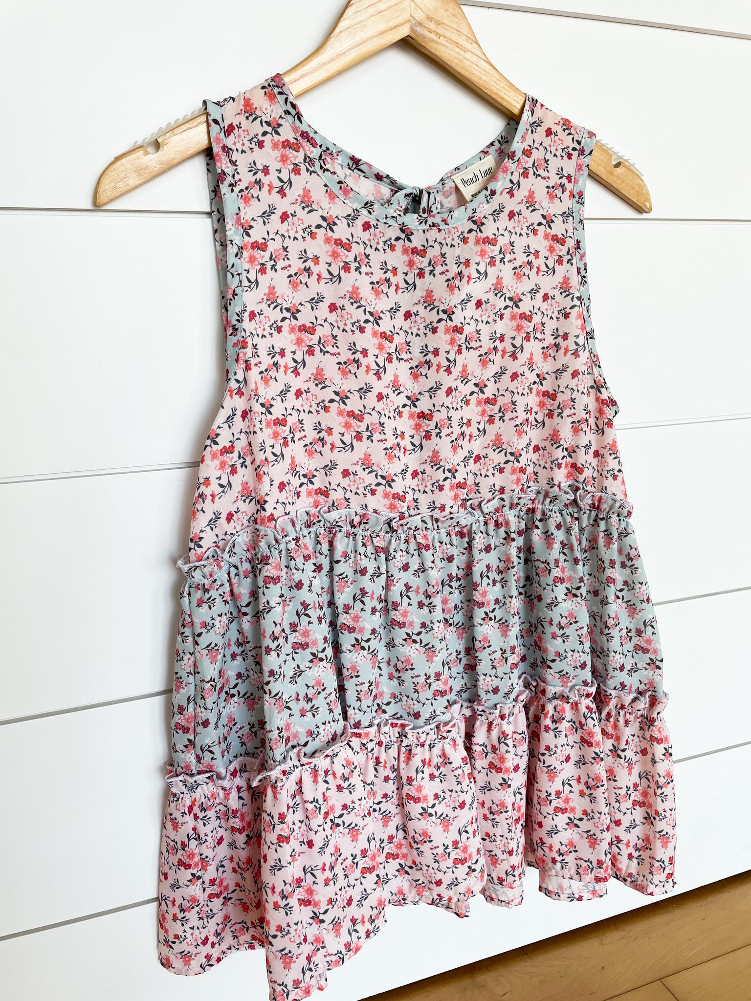 Blush/Sage Floral Print Babydoll Tank