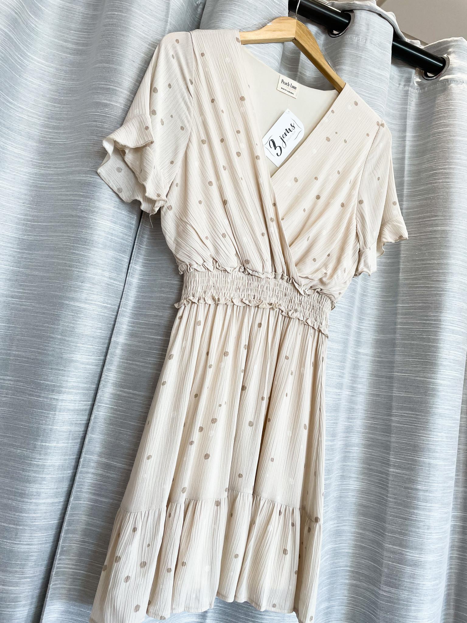 Tan Short Sleeve Polkadot V-Neck Dress
