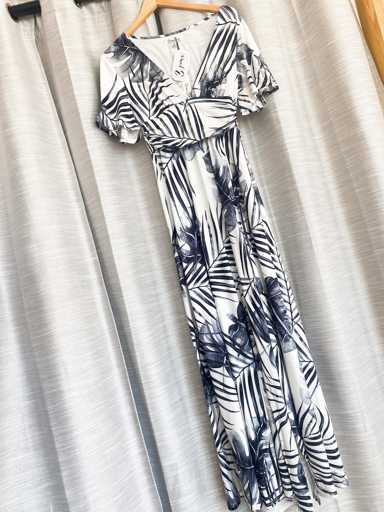 Black Printed V-Neck Side Slit Maxi Dress