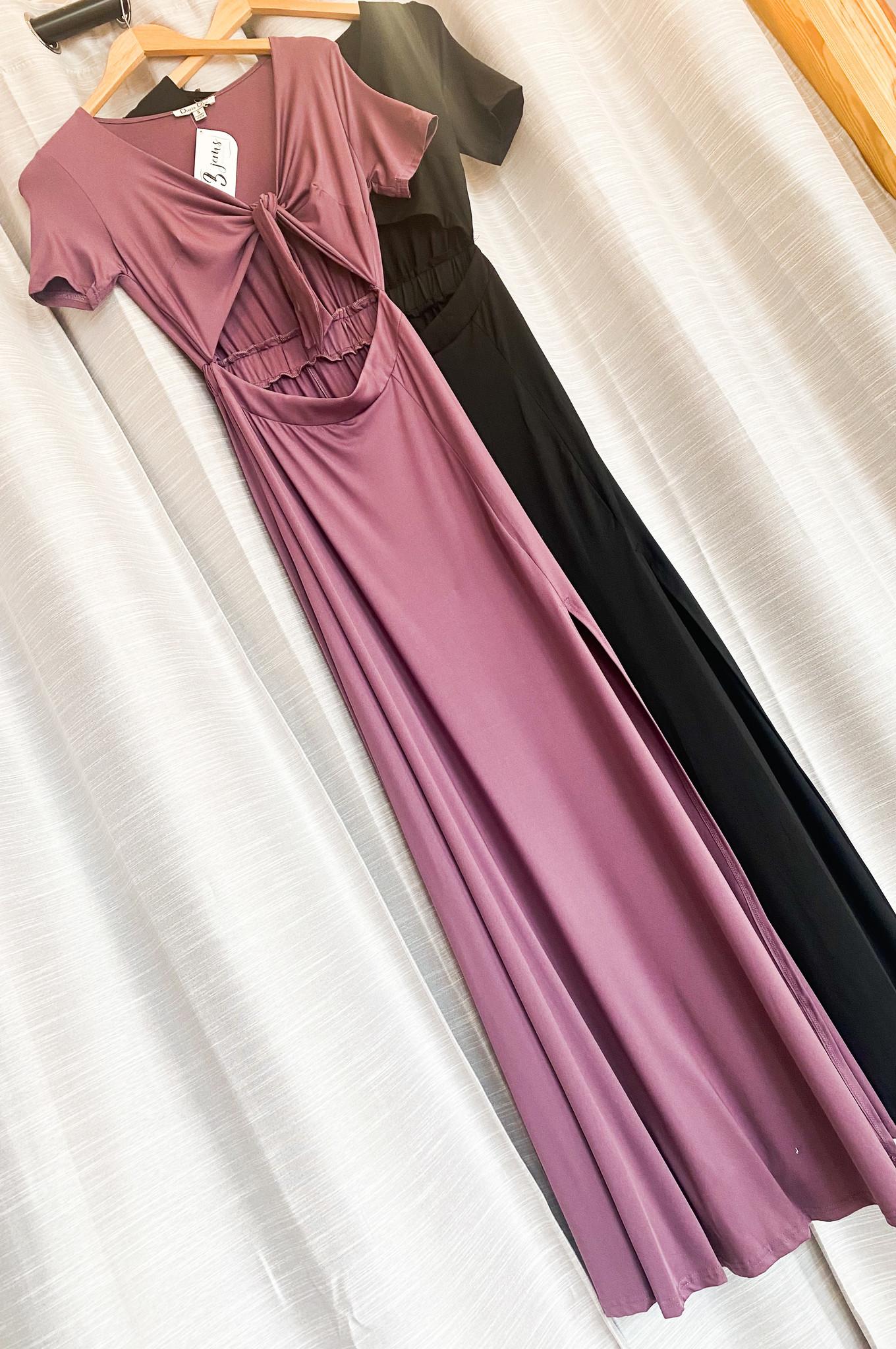V Neck Tie Maxi Dress