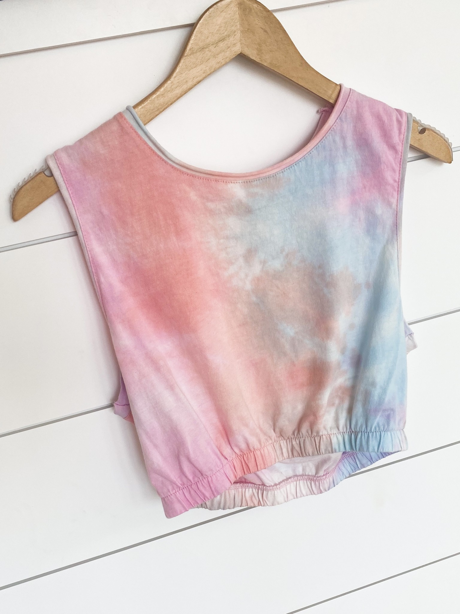 Washed Tie-Dye Muscle Crop Top