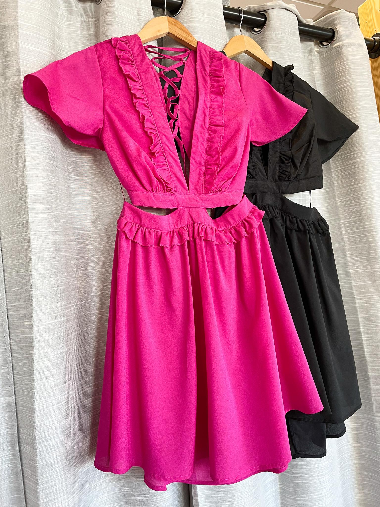 Puff Sleeve Lace Up Back Cutout Dress