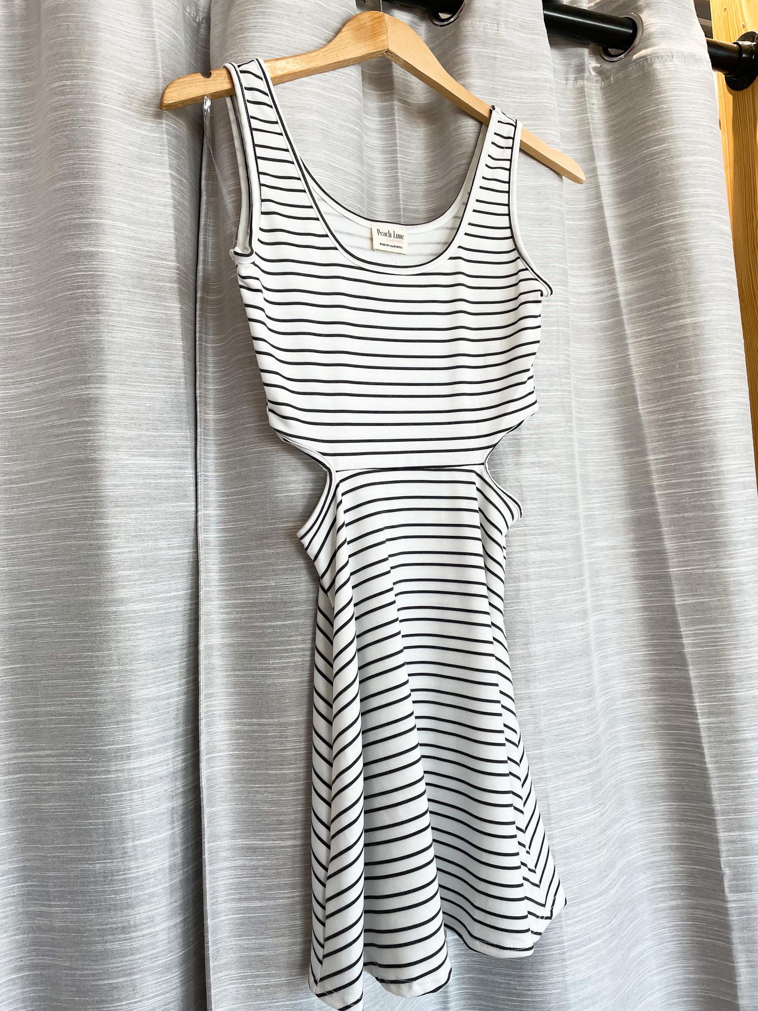 Off White/Black Striped Sleeveless Dress