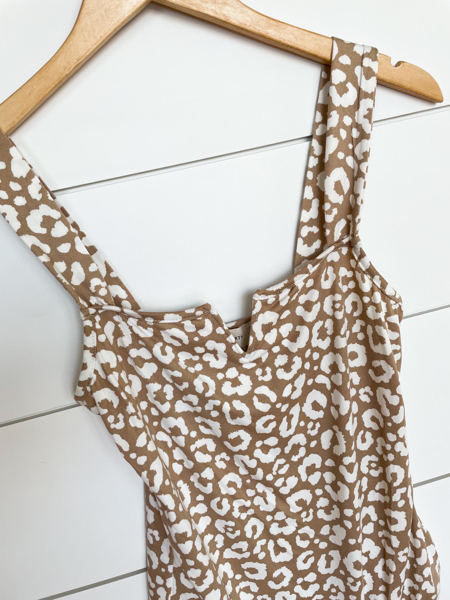 Fascination Taupe Leopard Print V Trim Bodysuit