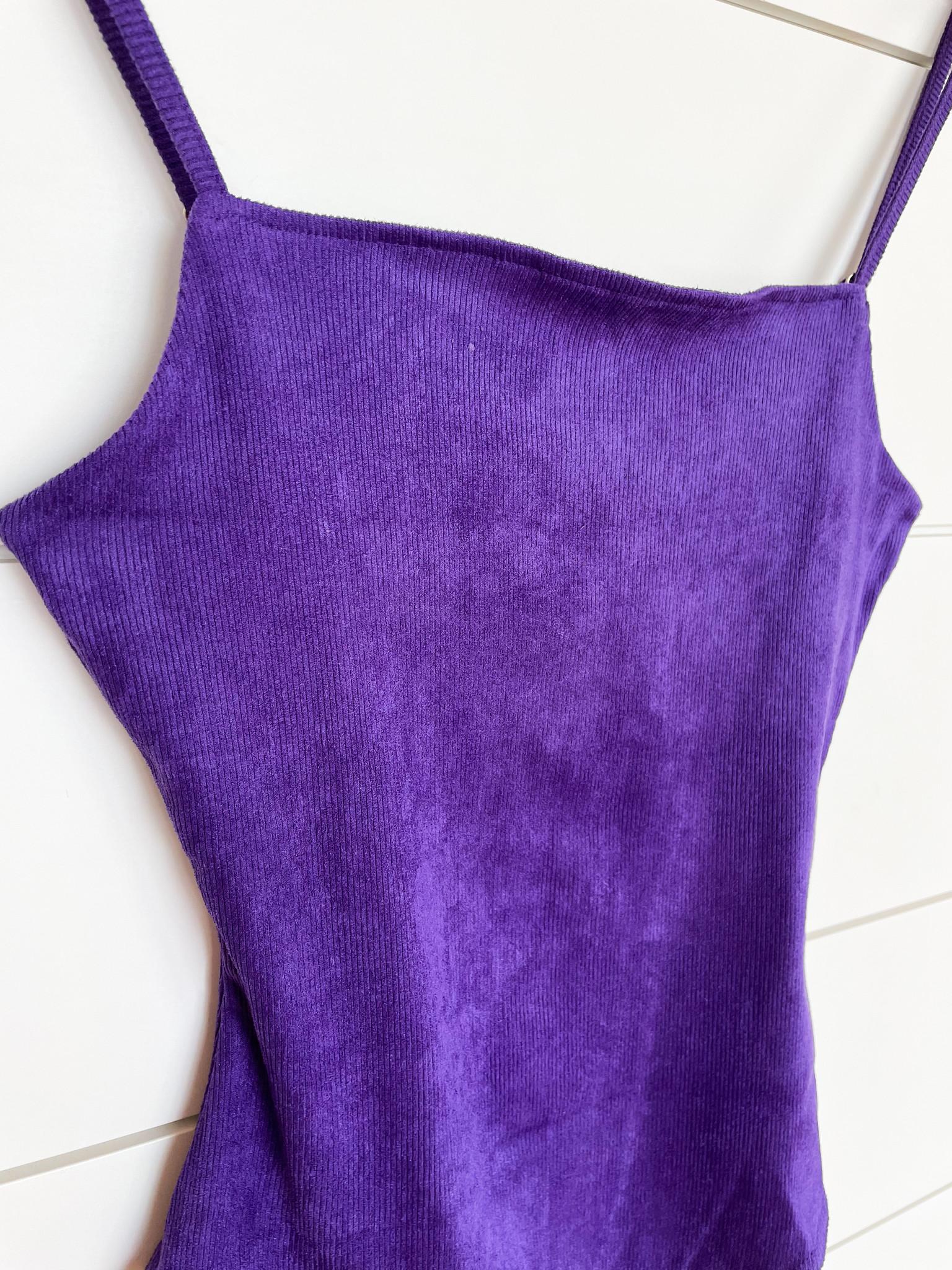 Le Lis Purple Velvet Bodysuit