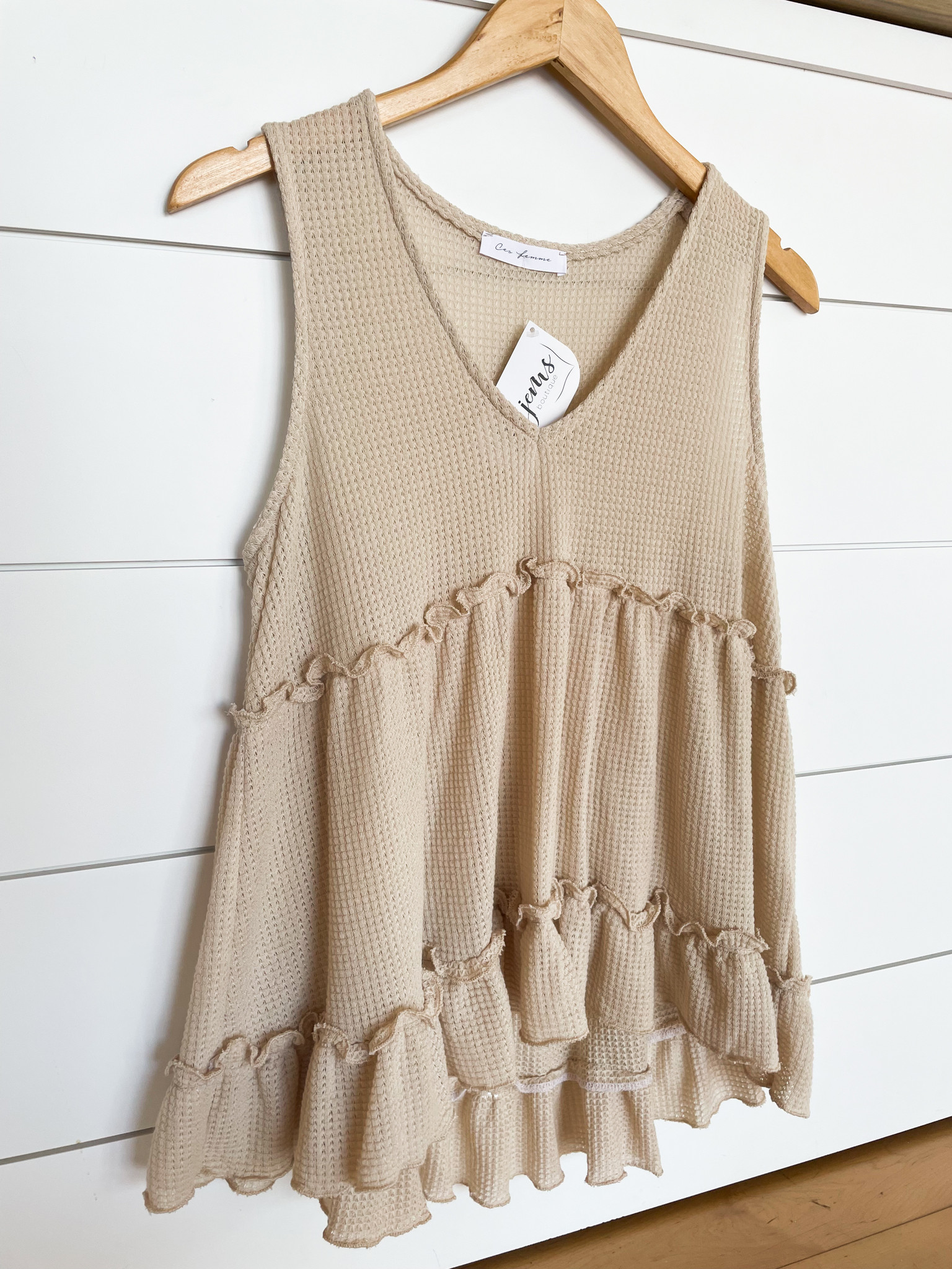 Taupe Waffle Babydoll Top
