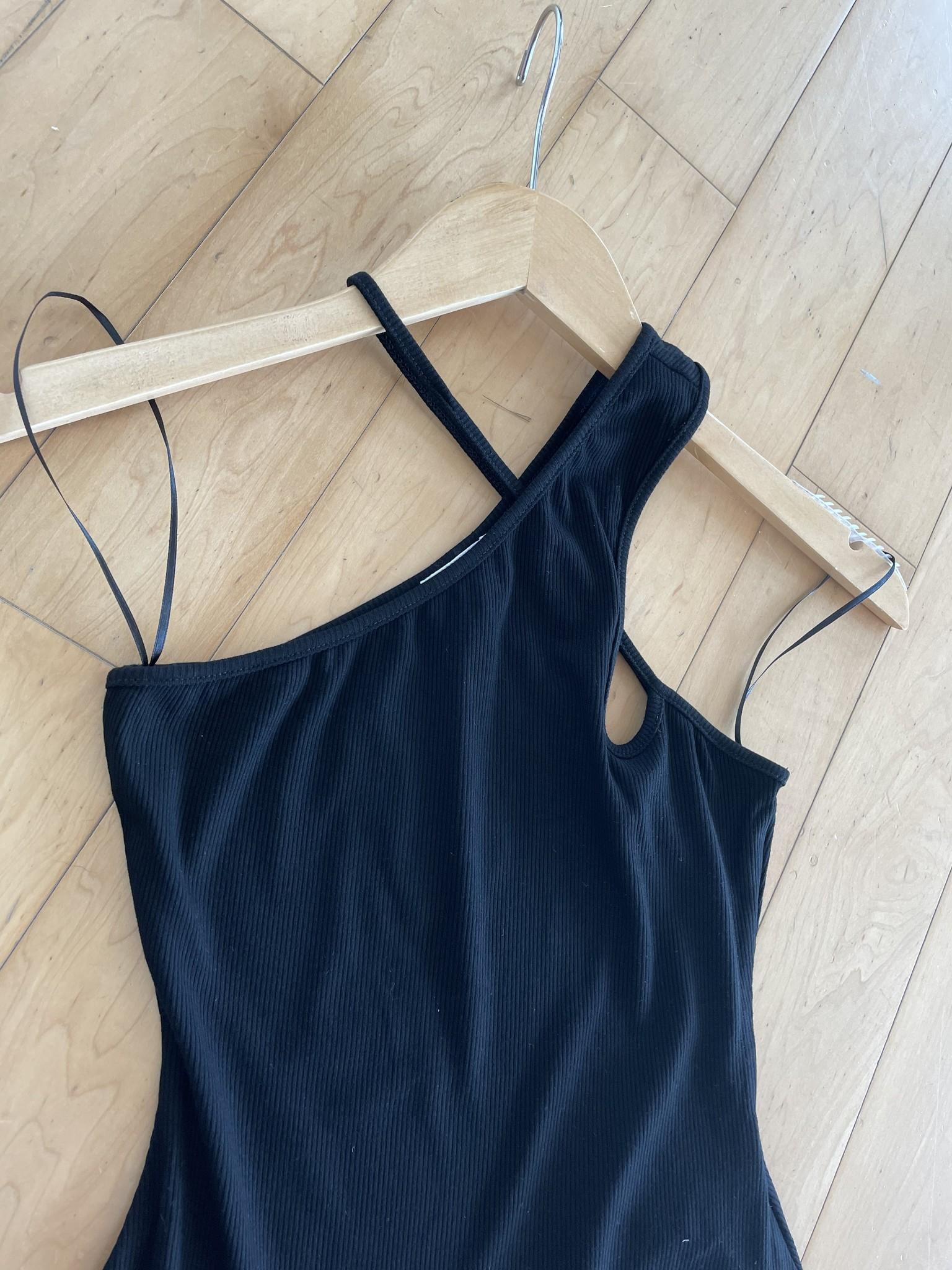 Black Criss Cross Front Ribbed Bodysuit