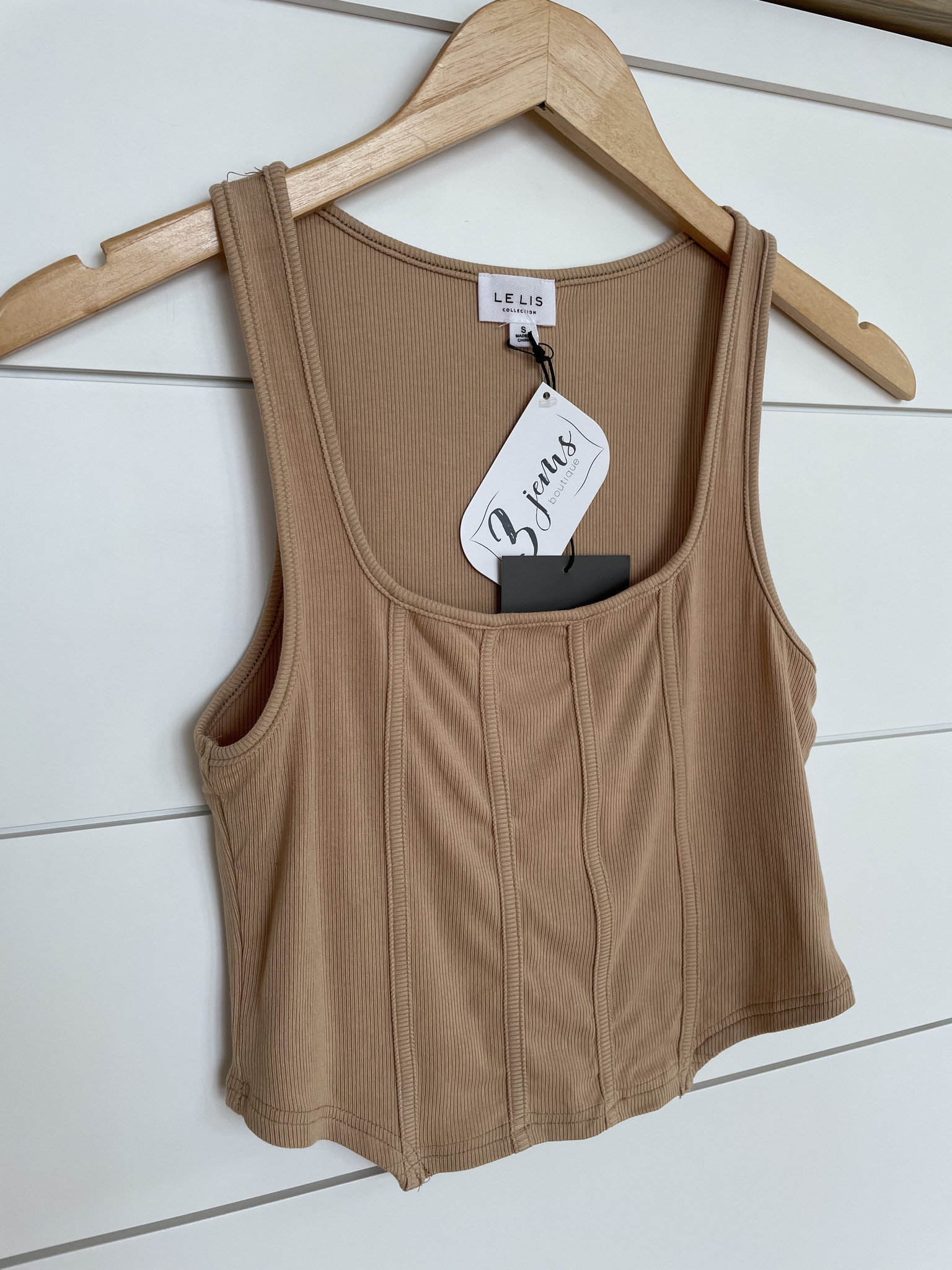 Taupe Corset Fit Ribbed Top