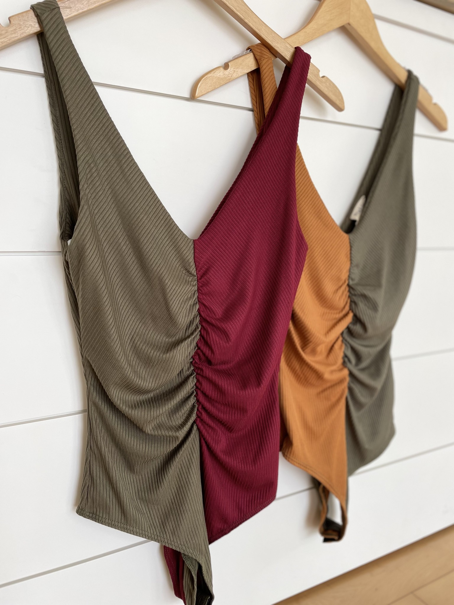 Sleeveless Colorblock Rib Bodysuit